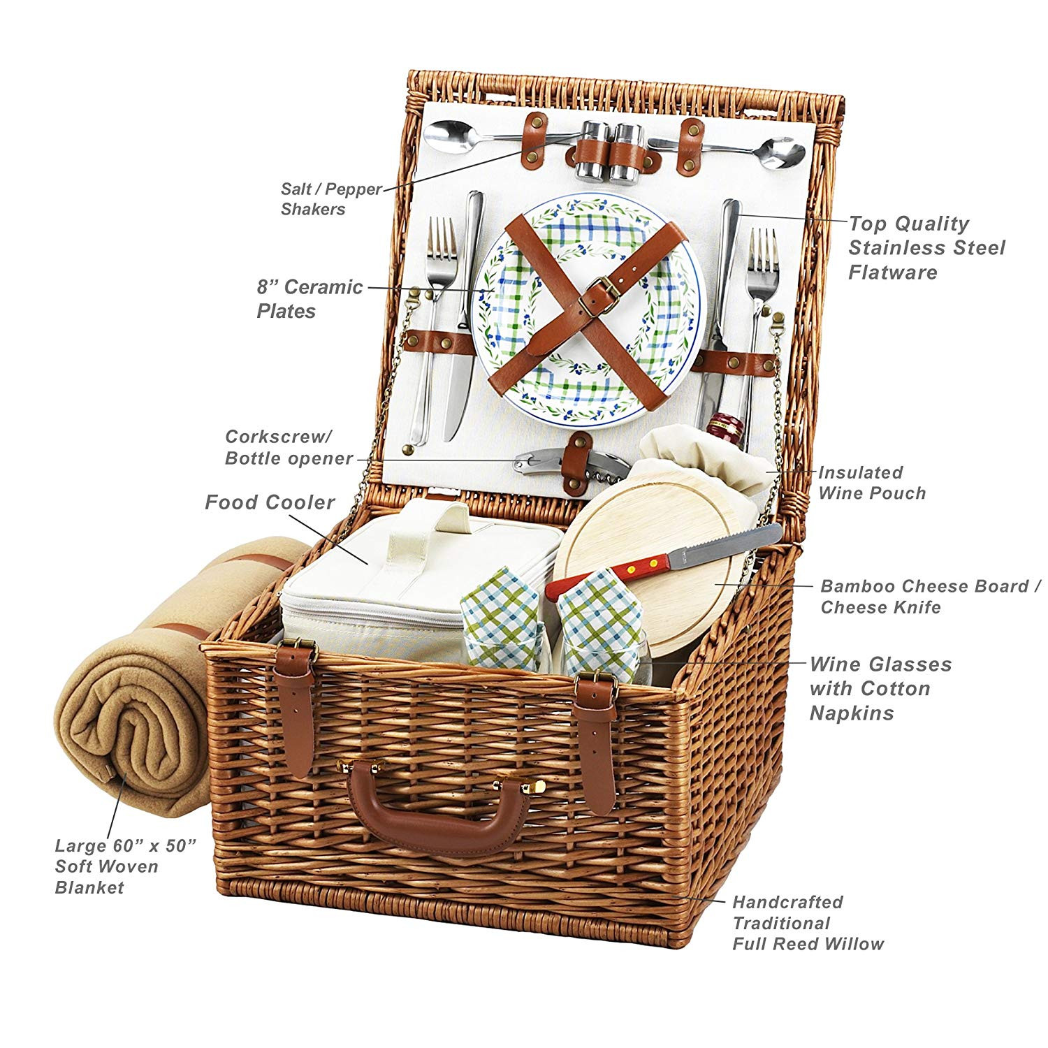Amazon Picnic at Ascot Cheshire English Style Willow Picnic Basket with Service for 2 and Blanket Gazebo Kitchen & Dining