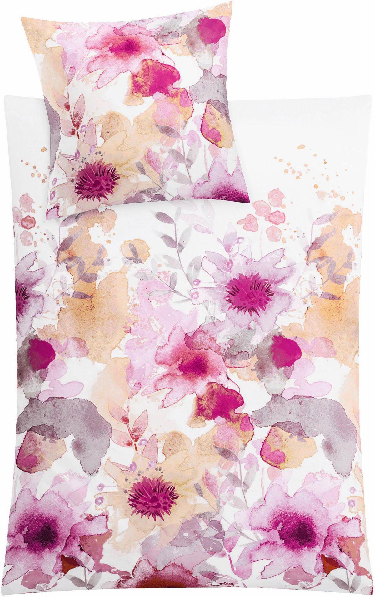 Bettwäsche Kleine Wolke Flores mit upften Blumen