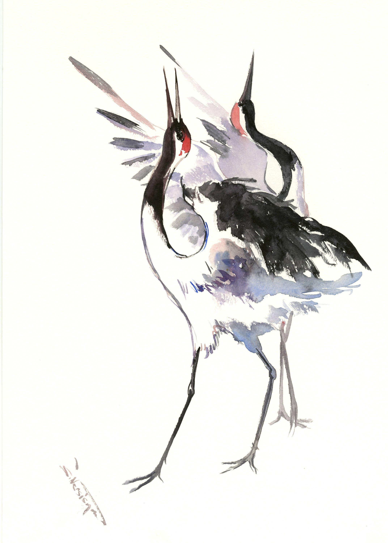 Japanese Crane artwork painting two cranes original watercolor minimalist painting black