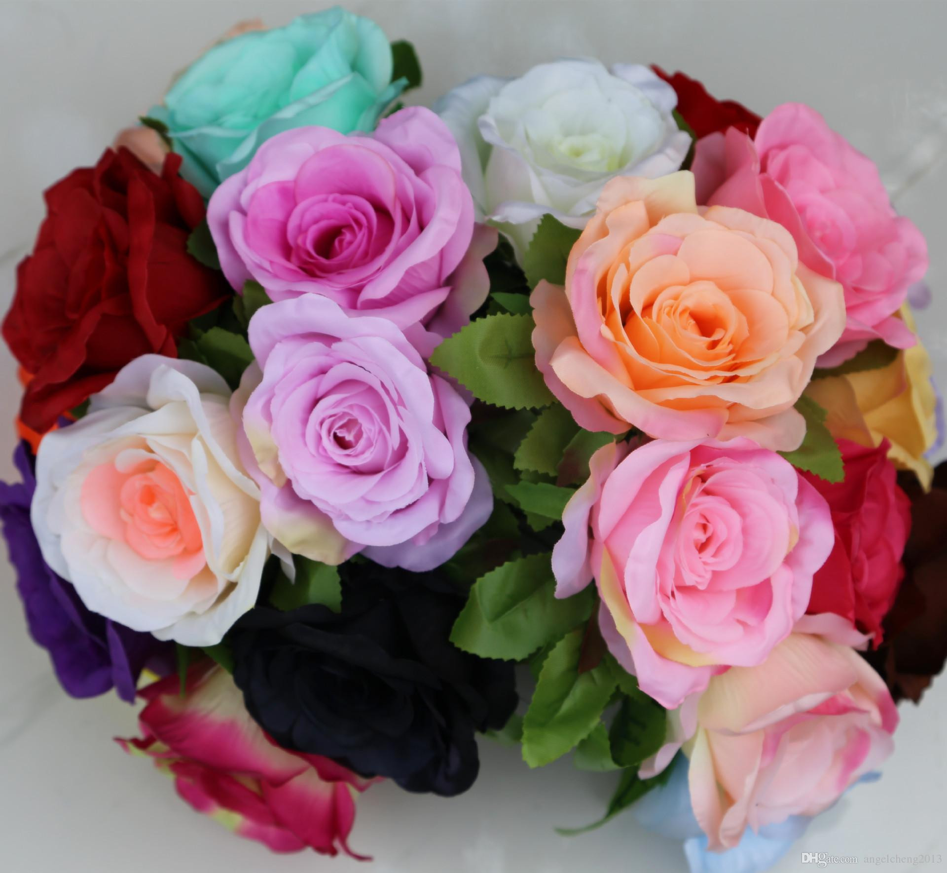 line Cheap Artificial Flowers Silk Roses Bouquet Home Wedding Decoration Pack 24 Colour Select Hb 032 By Angelcheng2013