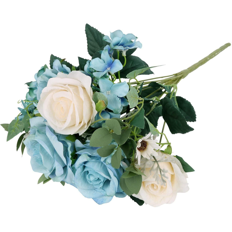 Amazon Lifelike Silk Rose Light Blue SOLEDI 11 Heads Artificial Flowers for Bridal Bouquet Wedding Living Room Table Home Garden Decoration Home &