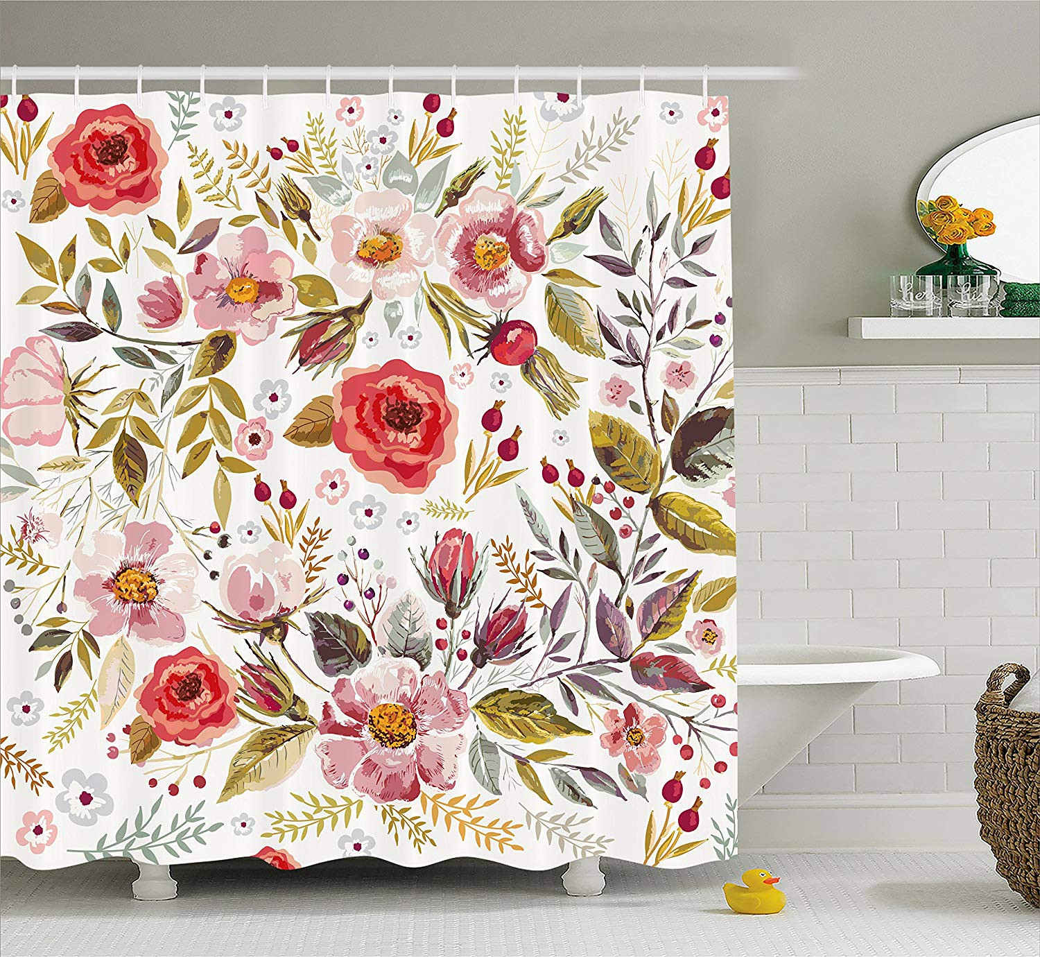 Amazon Ambesonne Vintage Shower Curtain by Floral Theme Hand Drawn Romantic Flowers and Leaves Illustration Fabric Bathroom Decor Set with Hooks