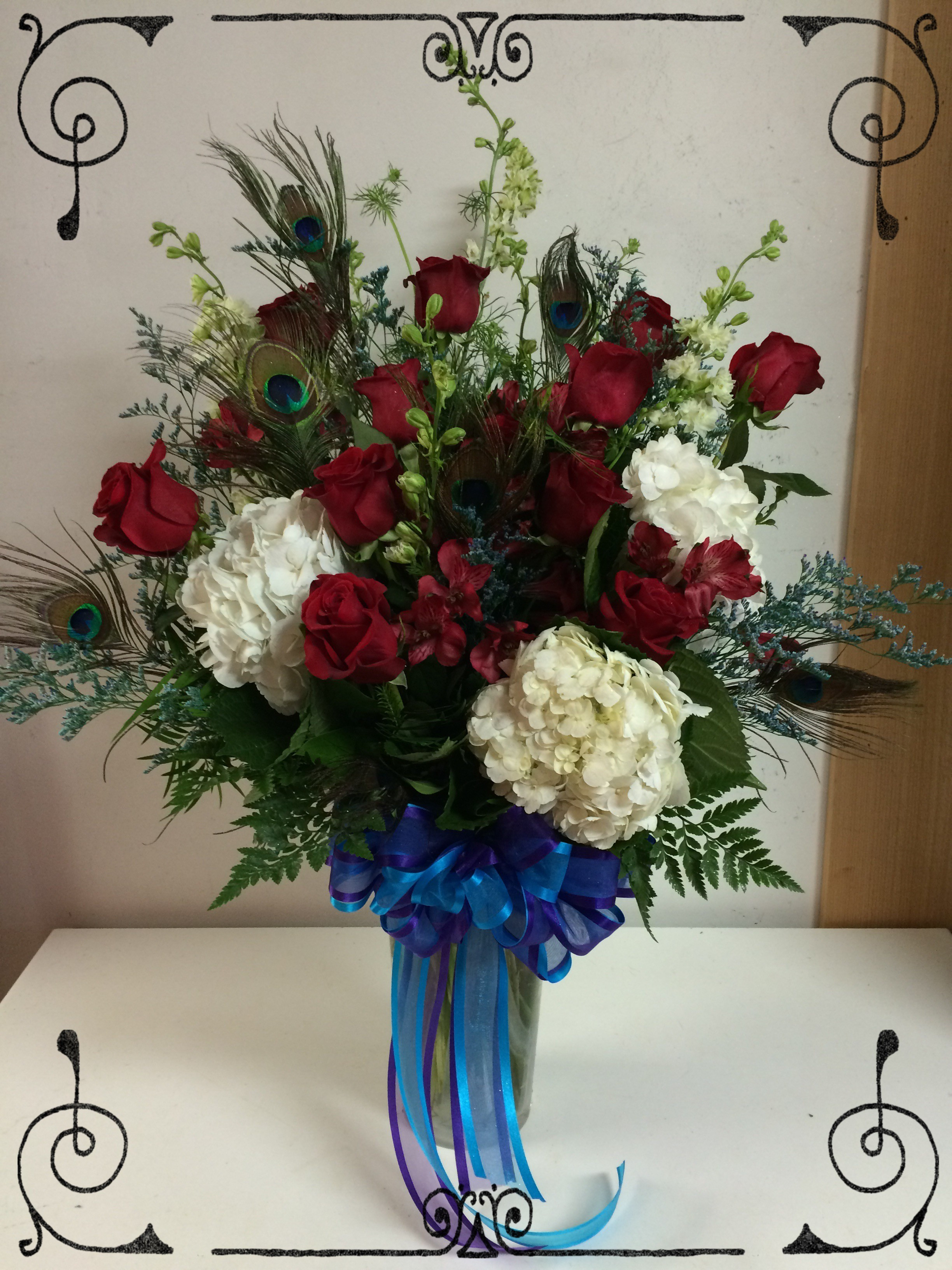 Next Day Delivery ADD TO FAVORITES Peacock Roses & Hydrangeas