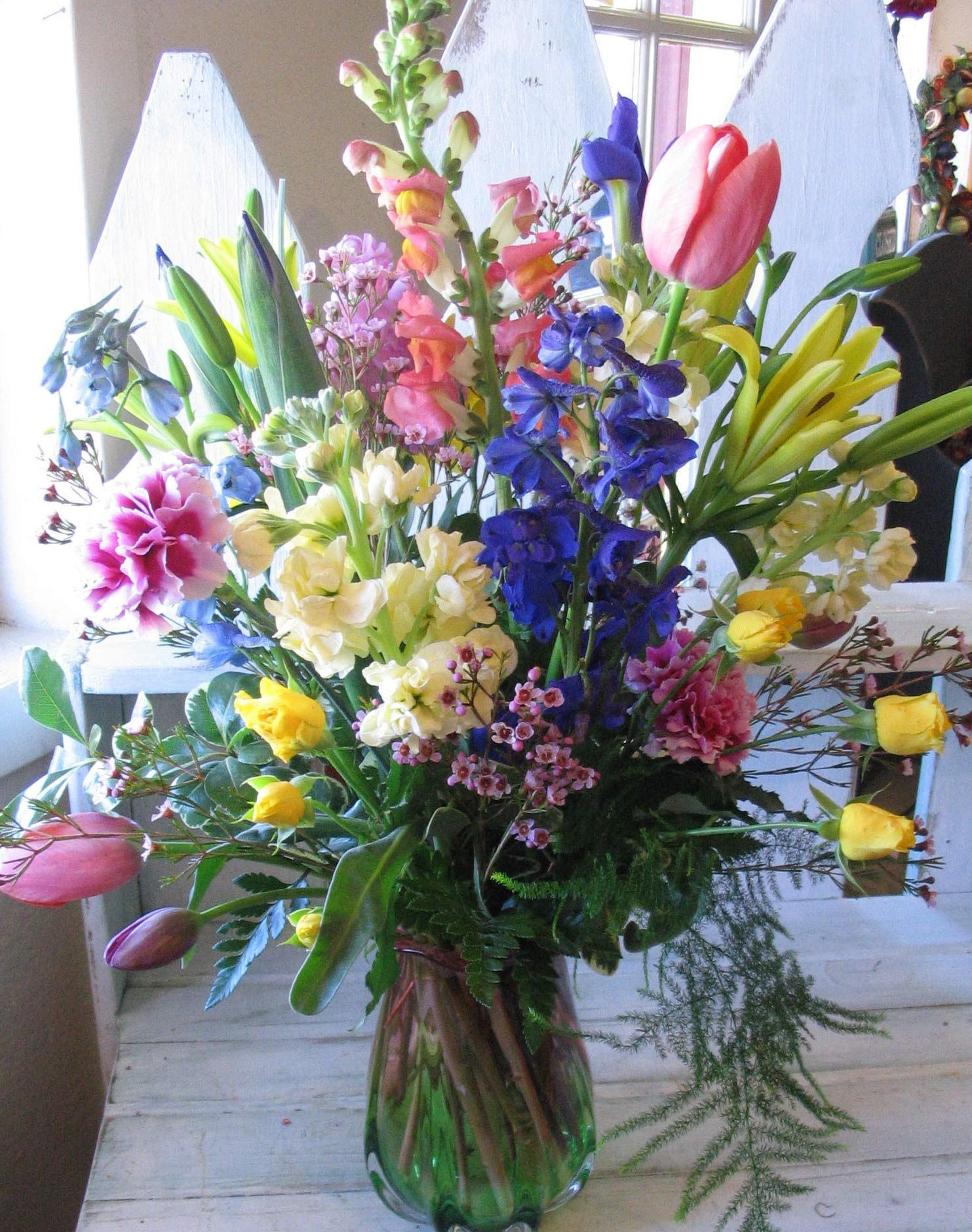 Fresh flowers from the florist are very nice for your Sunday Easter Dinner