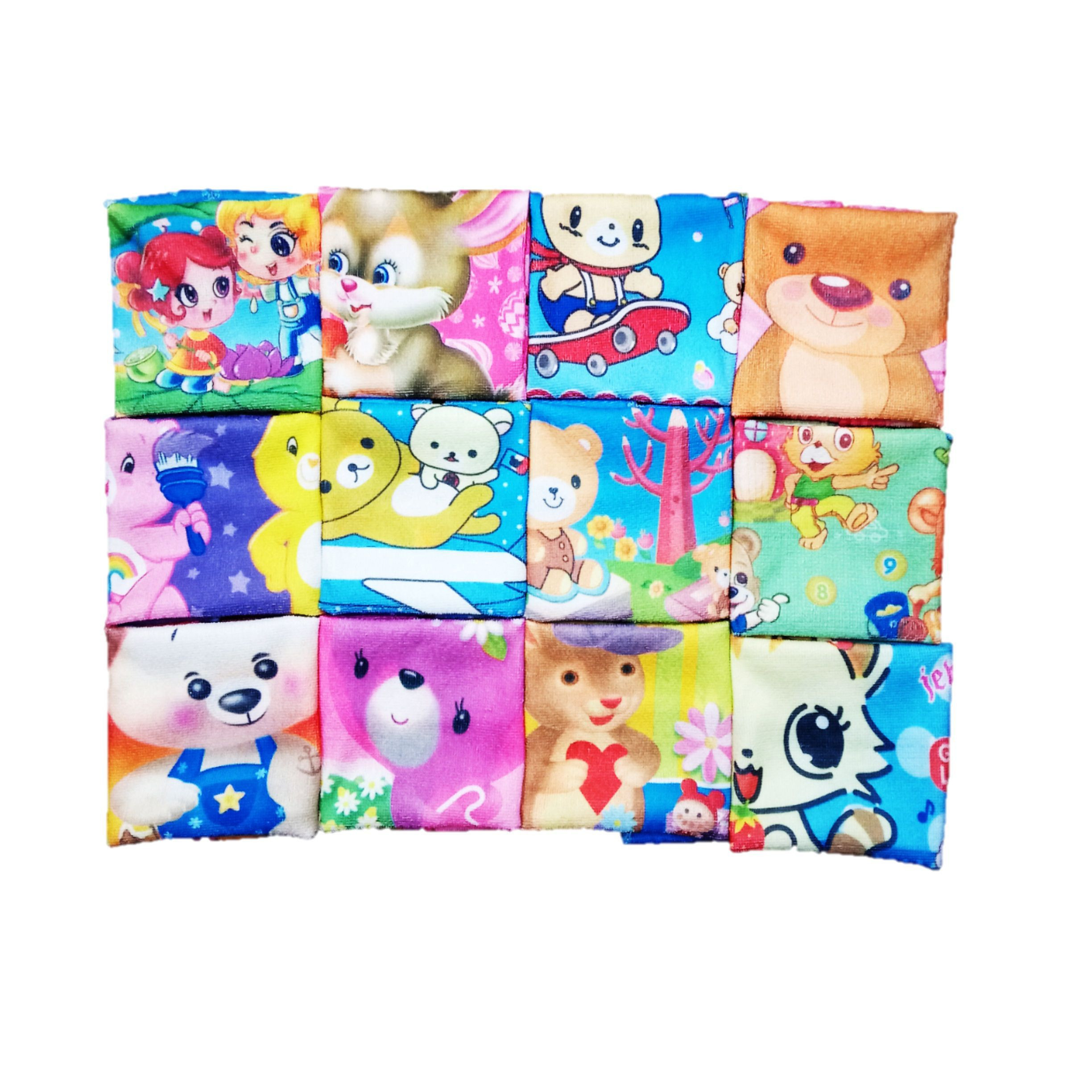 Yorker Luxury Super Soft Towel Colorful Printed Handkerchief Hankies with different Cartoons for Women