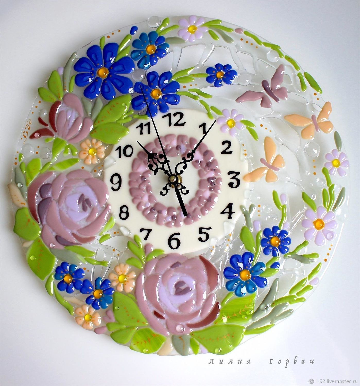 Clocks handmade hours of glass fusing Summer morning LiliaGorbach Glass My Livemaster