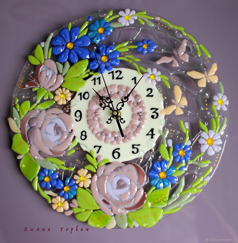 Clocks handmade Livemaster handmade Buy hours of glass fusing Summer morning