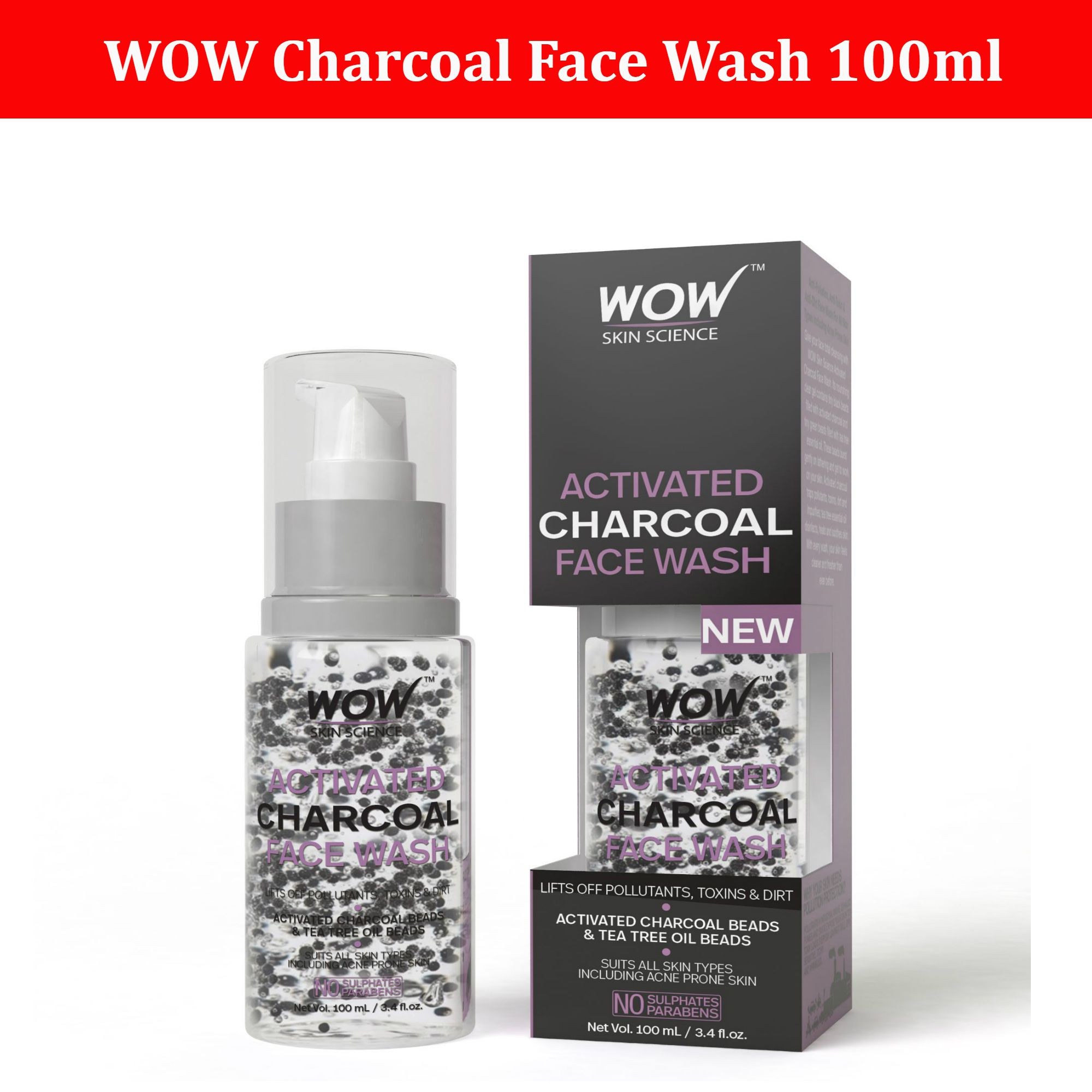 WOW Activated Charcoal Face Wash 100ml