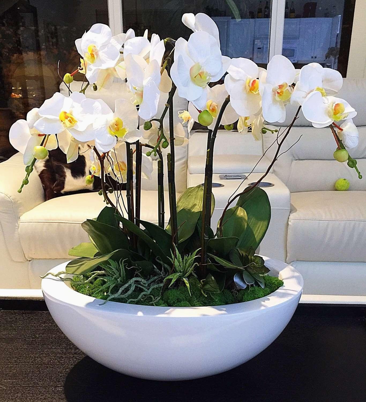 Custom order for Jeremy White orchid Arrangement Realistic Scheme Silk Flower Arrangements for Dining Room