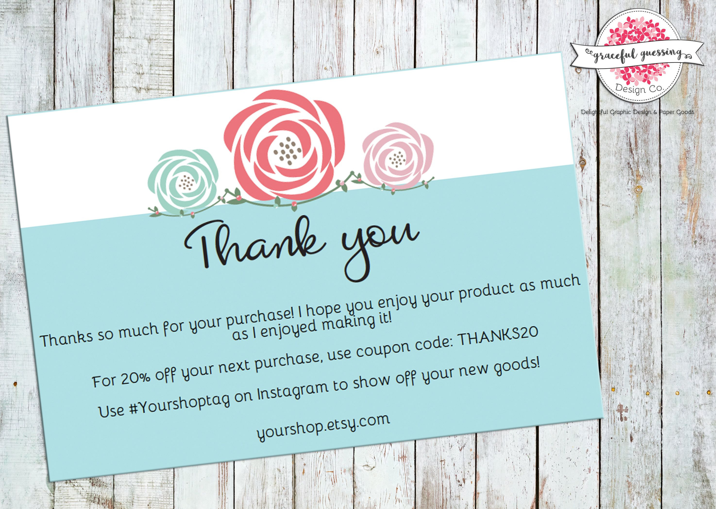 Order Thank You Cards Printable Etsy Shop Cards Package Insert Cards Small Business Thank You Cards Floral Order Thank You PDF by