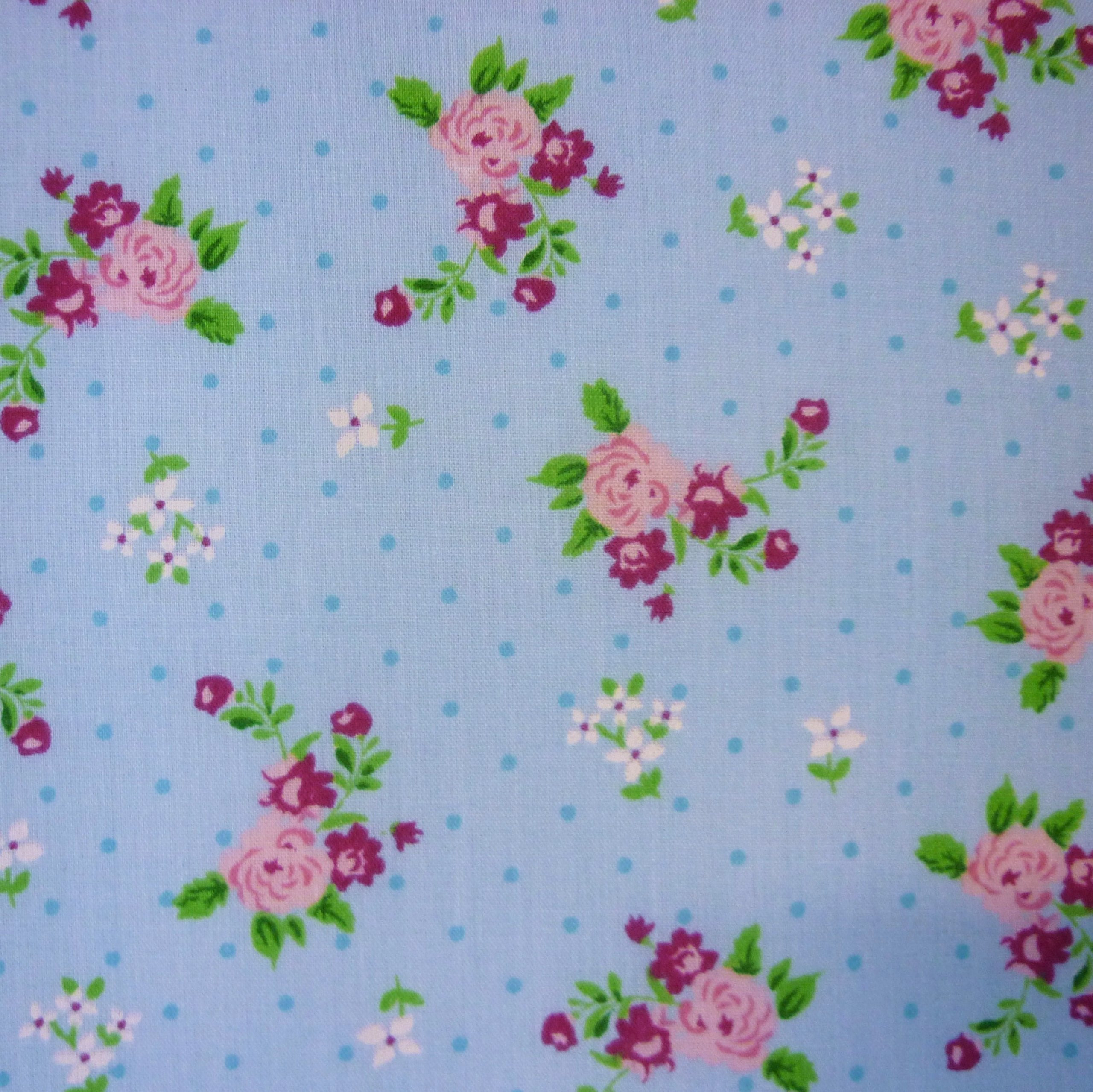 Blue Polka Dot Polycotton Fabric with Roses and Small Flower Print Per Metre by
