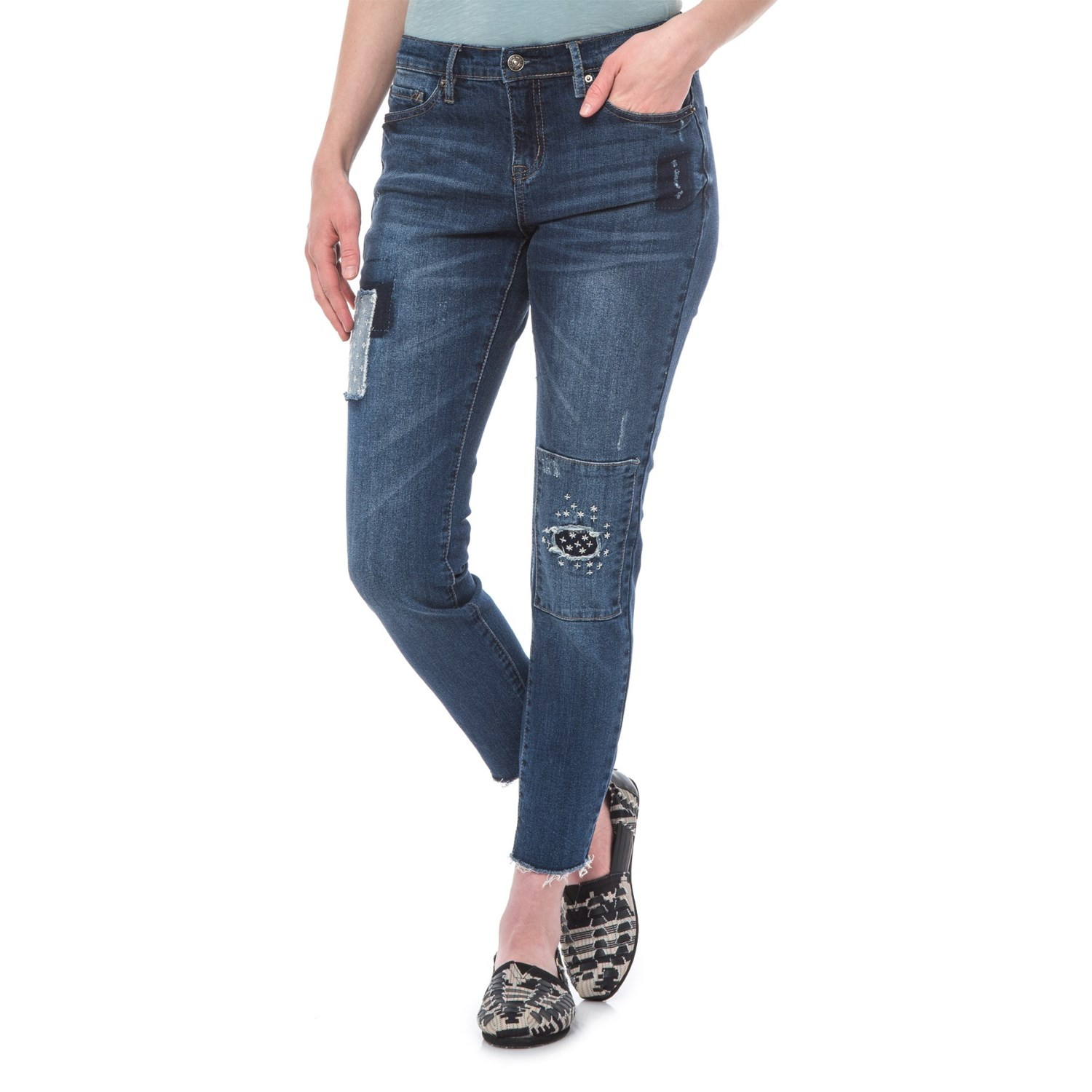 Washed Floral Embroidered Skinny Jeans Nicole Miller New York Authentic Sale line Eastbay Outlet Collections Sale
