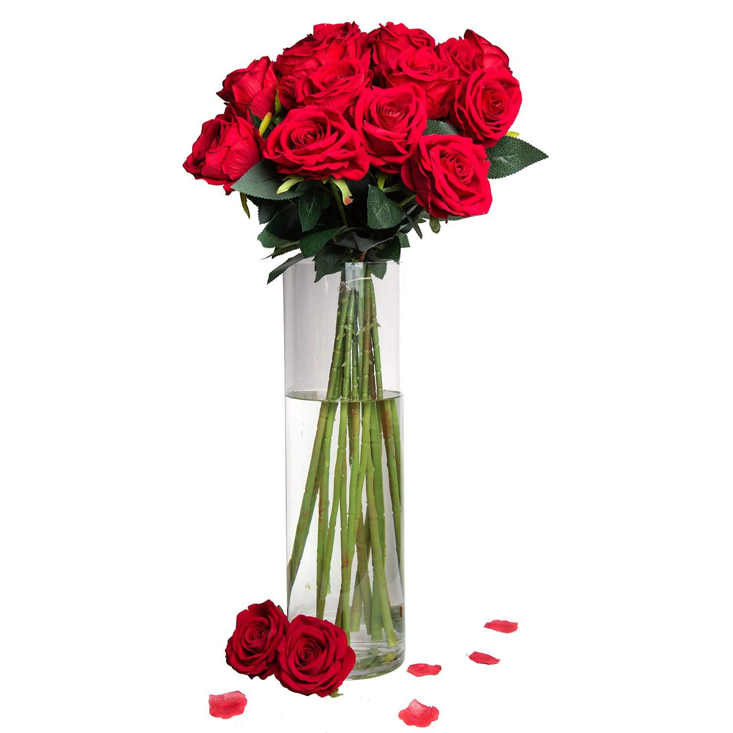 """Amazon Artificial Silk Roses Red Velvet 30"""" Long Stemmed 1 Dozen Fake Flowers for Bouquets Weddings Valentines By Royal Imports Home & Kitchen"""