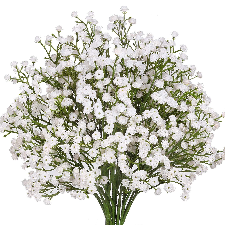 Amazon Senjie Artificial Fake Flowers Babys Breath Gypsophila Bouquets for Wedding Home DIY Decoraction 7 PCS White Home & Kitchen