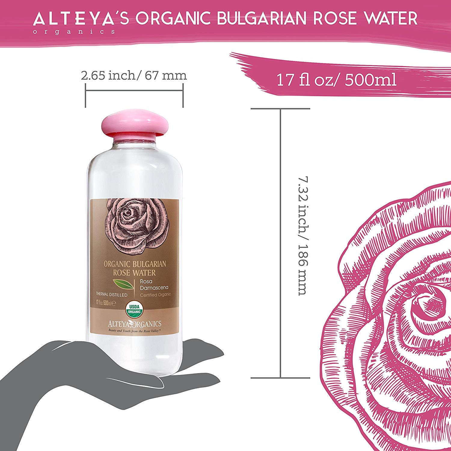 Alteya Organic Rose Water 500ml USDA Certified Organic BIG BOTTLE Authentic Pure Natural Rosa Damascena Flower Water Steam Distilled and Sold