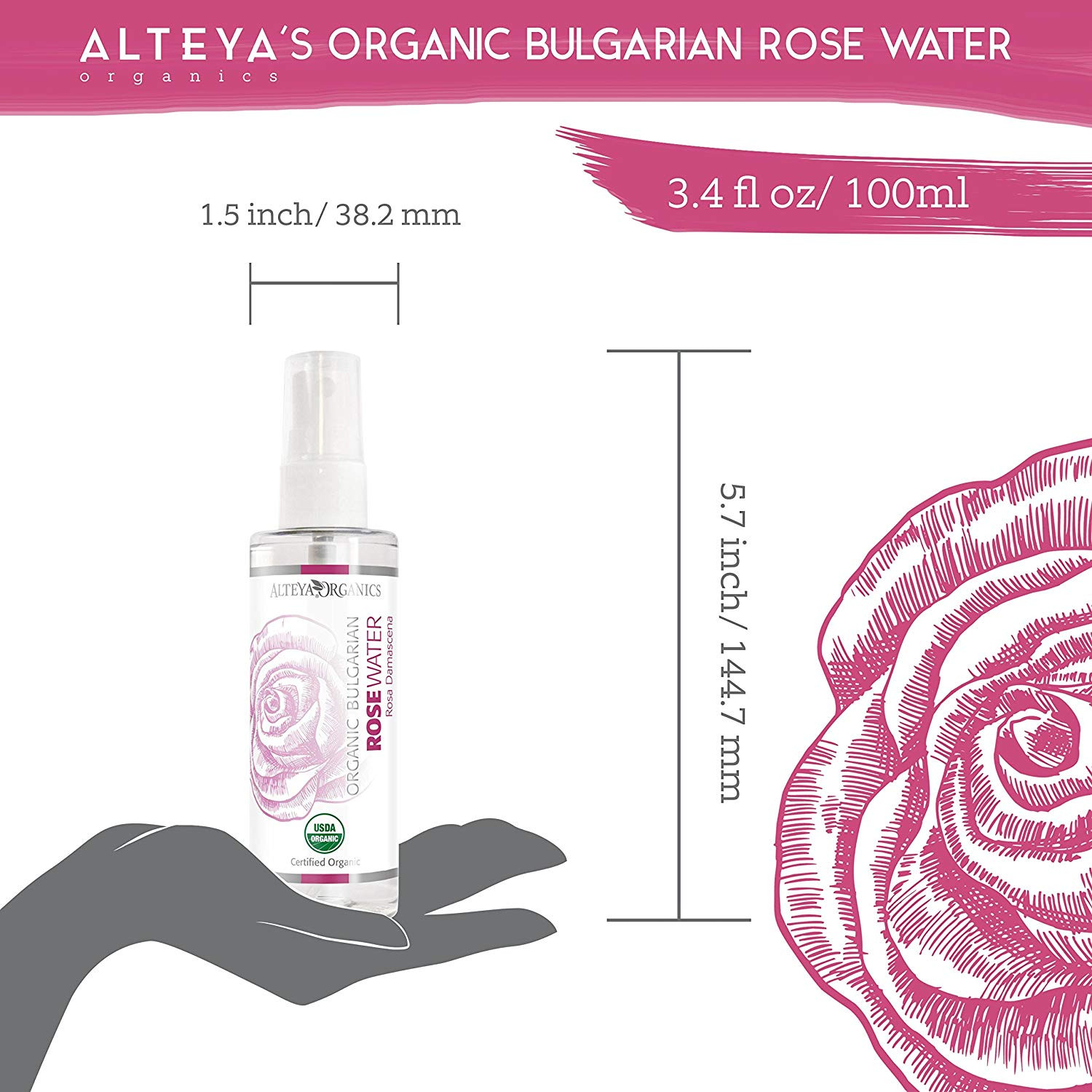 Alteya Organic Rose Water Spray 100ml USDA Certified Organic Authentic Pure Natural Rosa Damascena Flower Water Steam Distilled and Sold Directly by