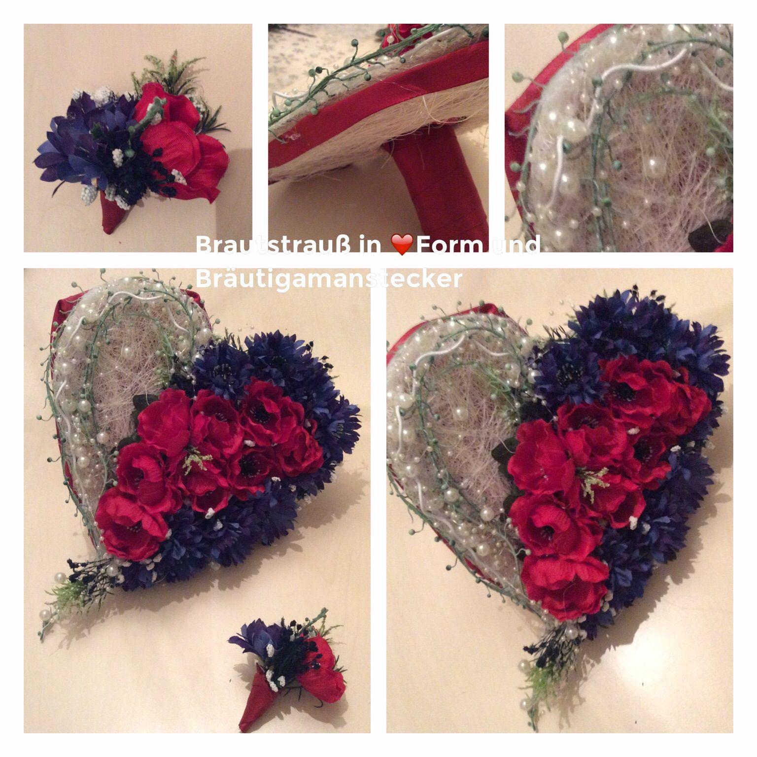 Brautstrauss in Herzform und Anstecker