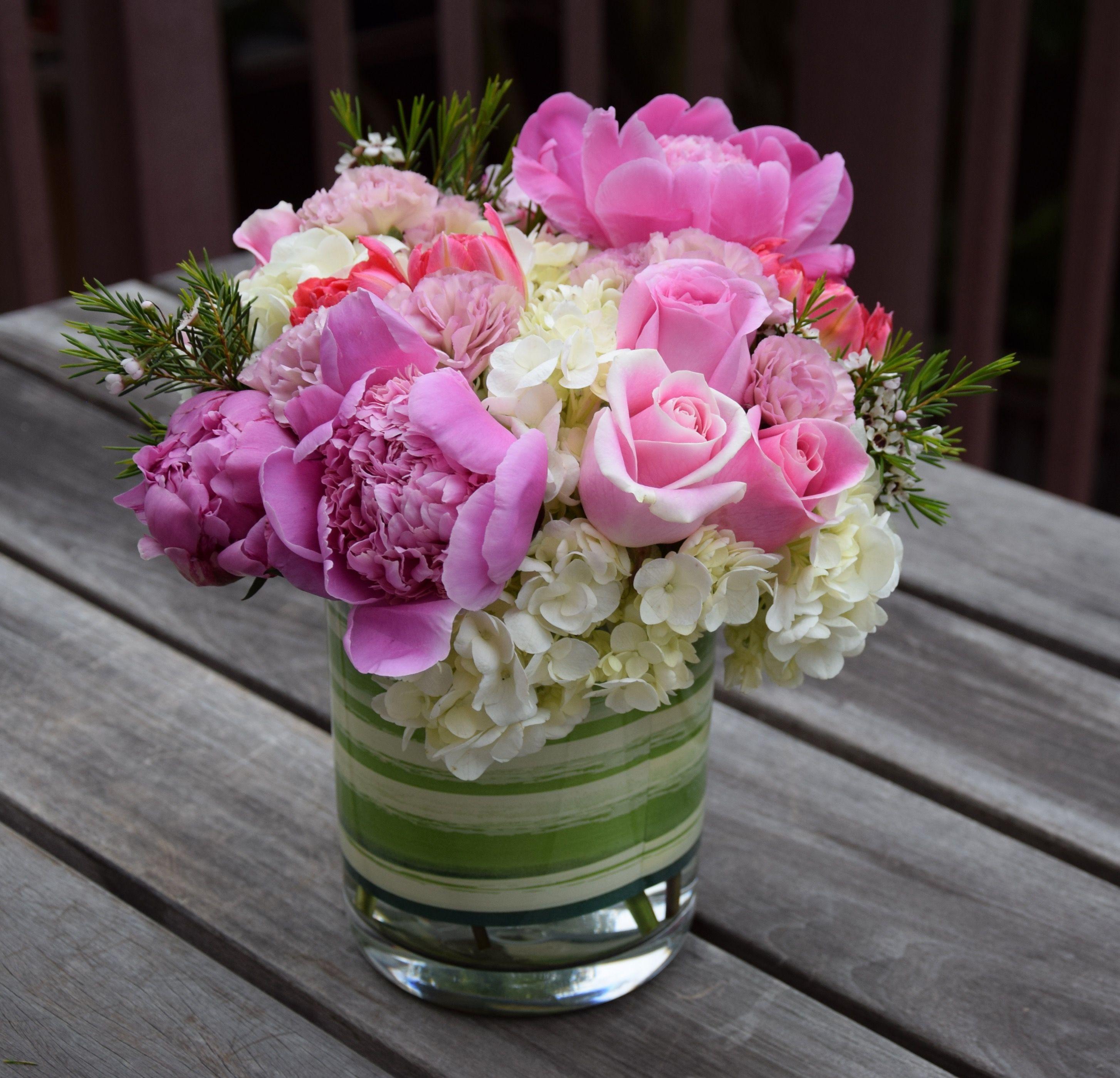 Mother s Day flower arrangement hydrangeas peonies roses tulips