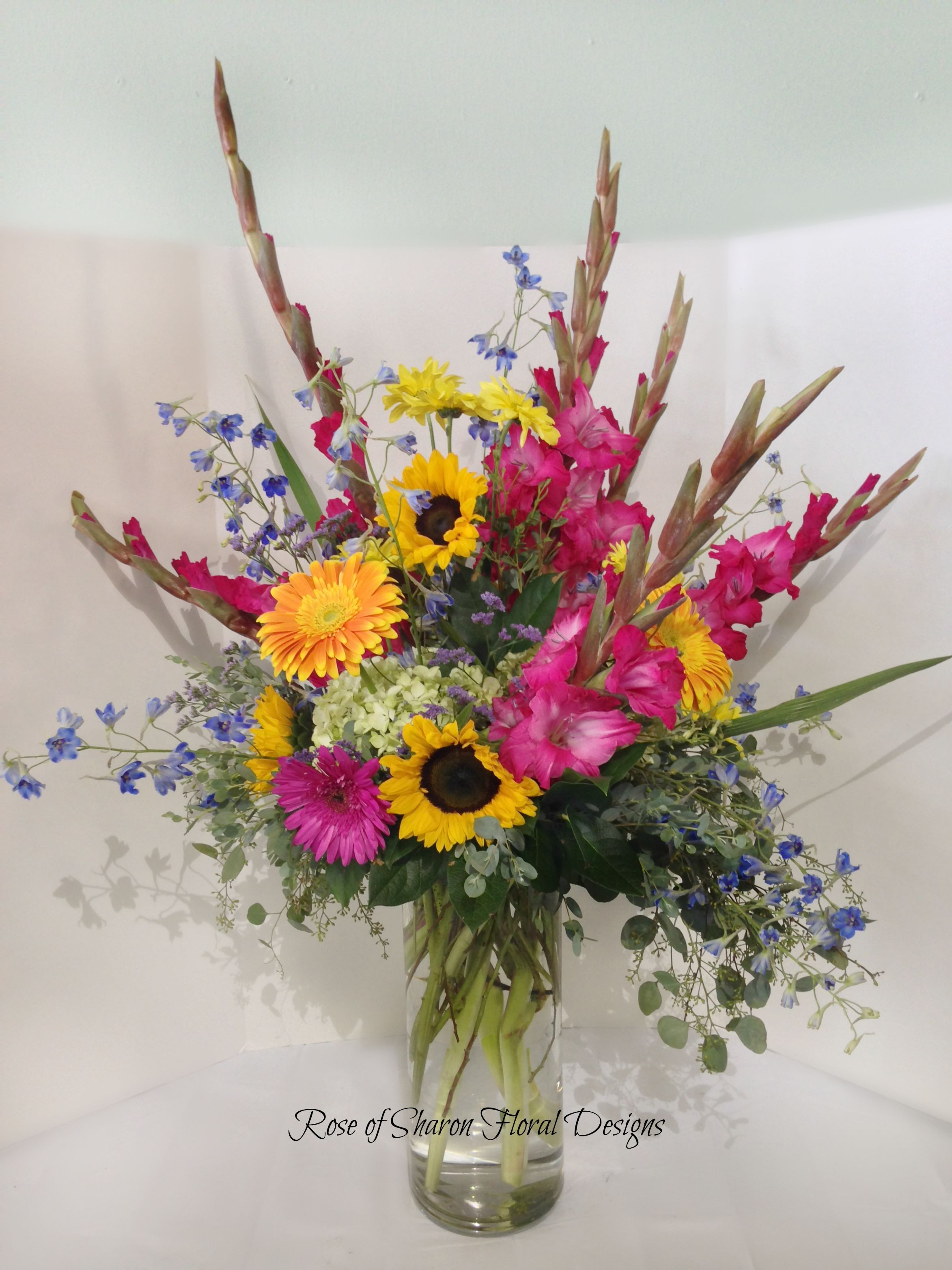 Rose of Sharon Floral Designs Sunflower Daisy and Gladiolus Arrangement