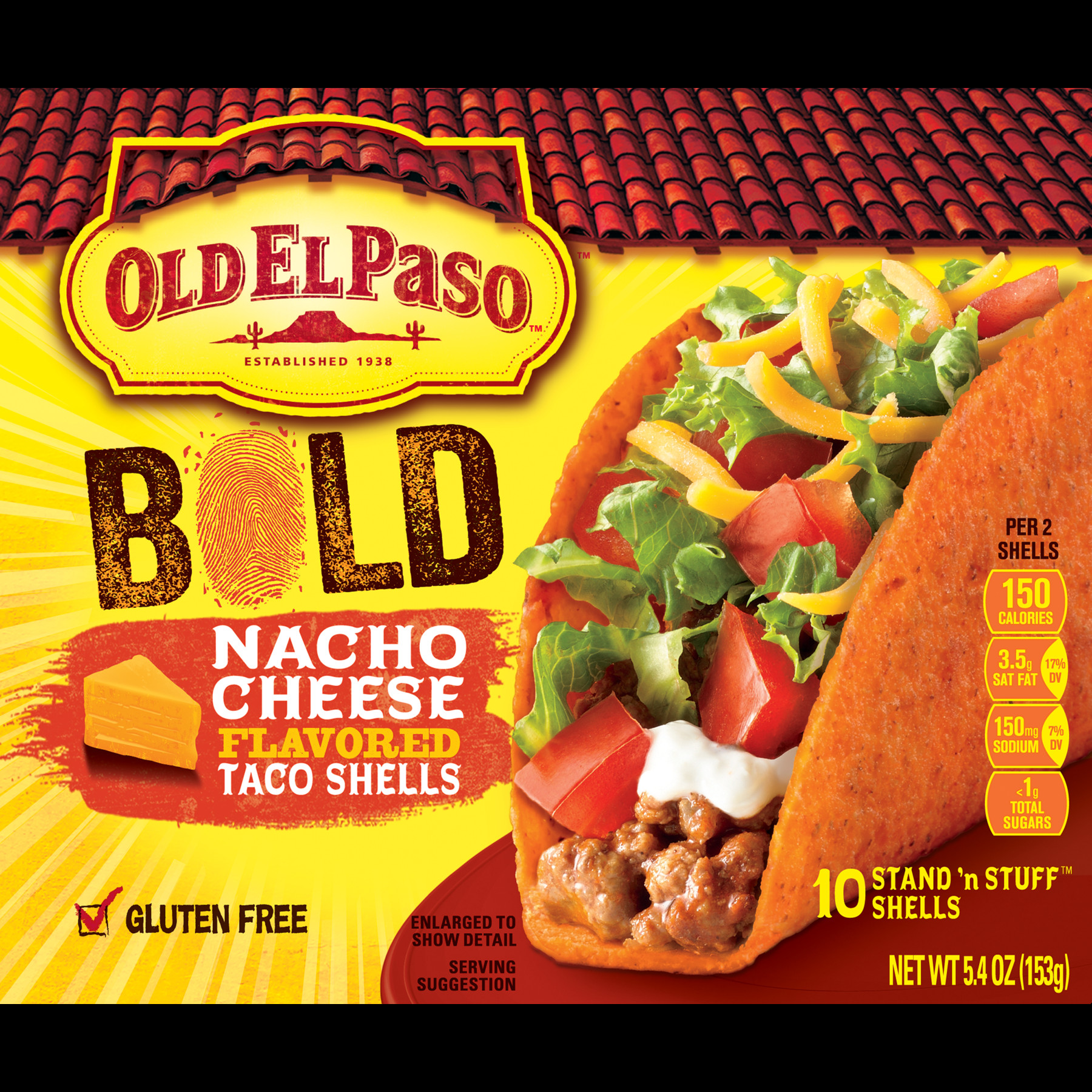 Old El Paso Stand N Stuff Bold Nacho Cheese Flavored Shells 5 4 oz Walmart