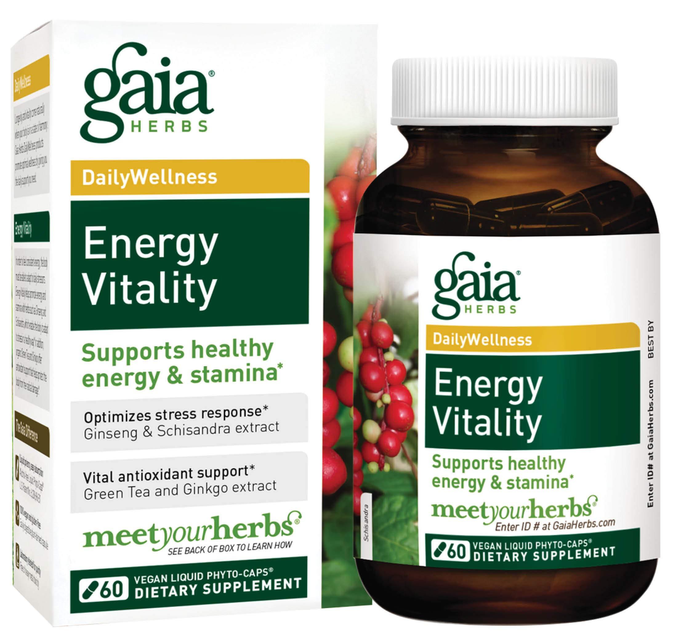 Gaia Herbs Energy Vitality Vegan Liquid Capsules 60 Count Promotes Healthy Energy and