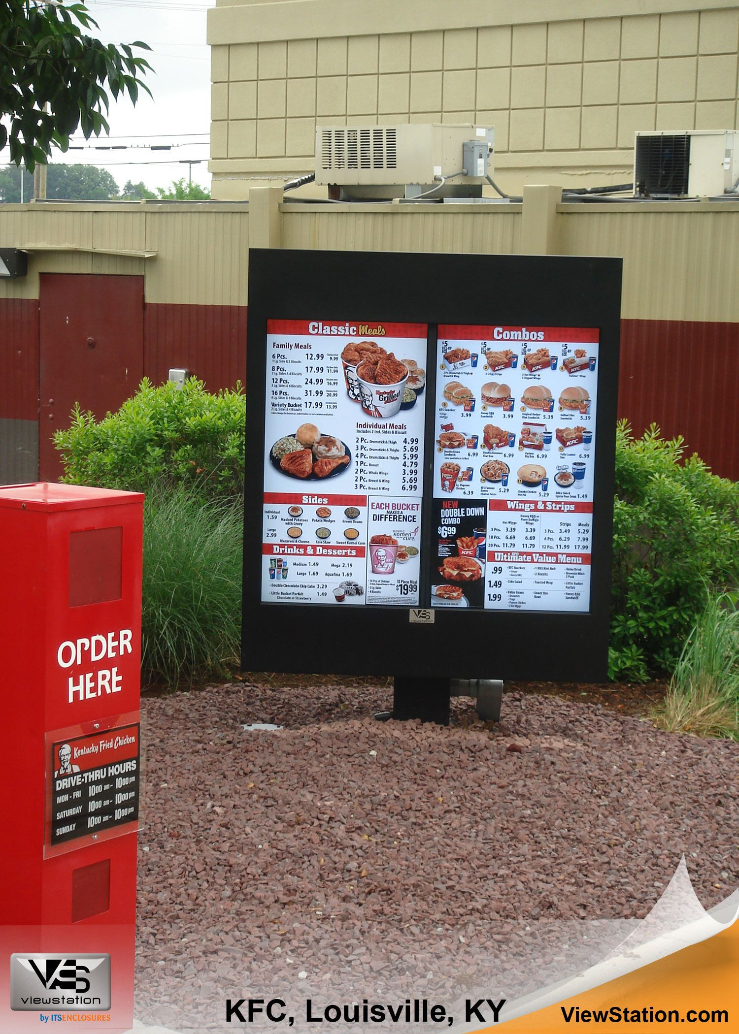 KFC Kentucky Fried Chicken Louisville KY Digital Menu Boards for Drive Thru ViewStation QSR by ITSNENCLOSURES ViewStation