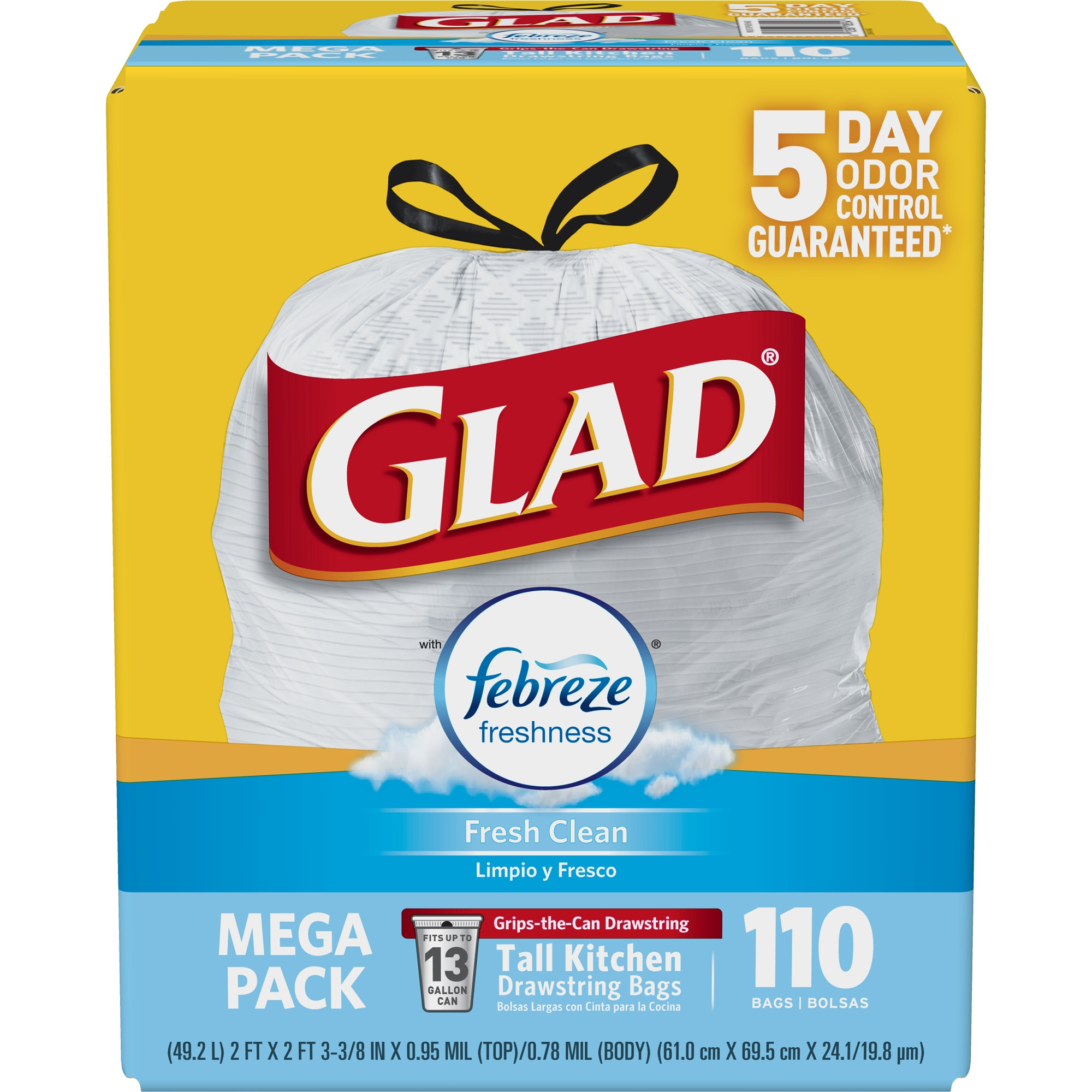 Glad OdorShield Tall Kitchen Drawstring Trash Bags Febreze Fresh Clean 13 Gallon 110 Count Walmart