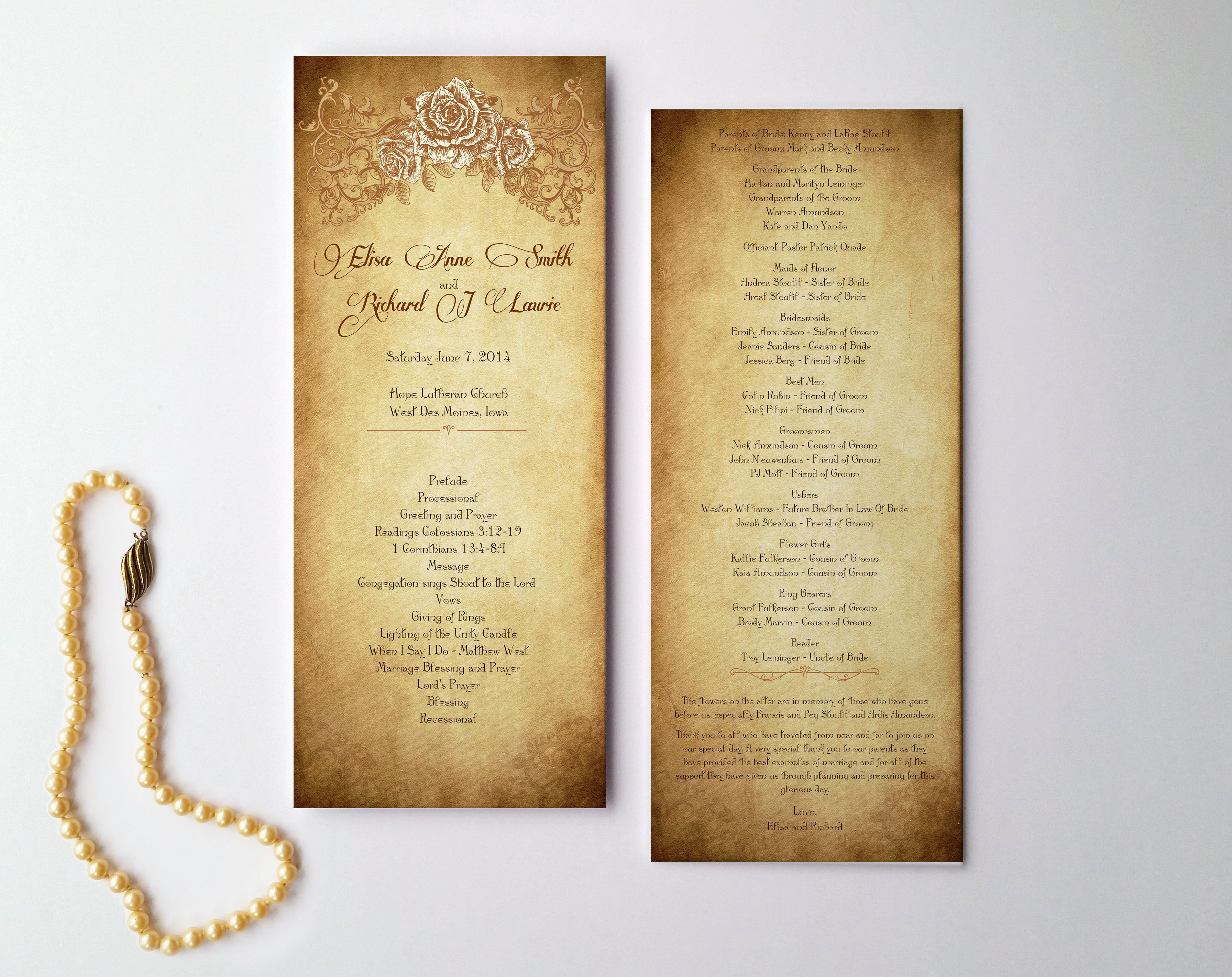 Wedding Programs and order of service – Chicago