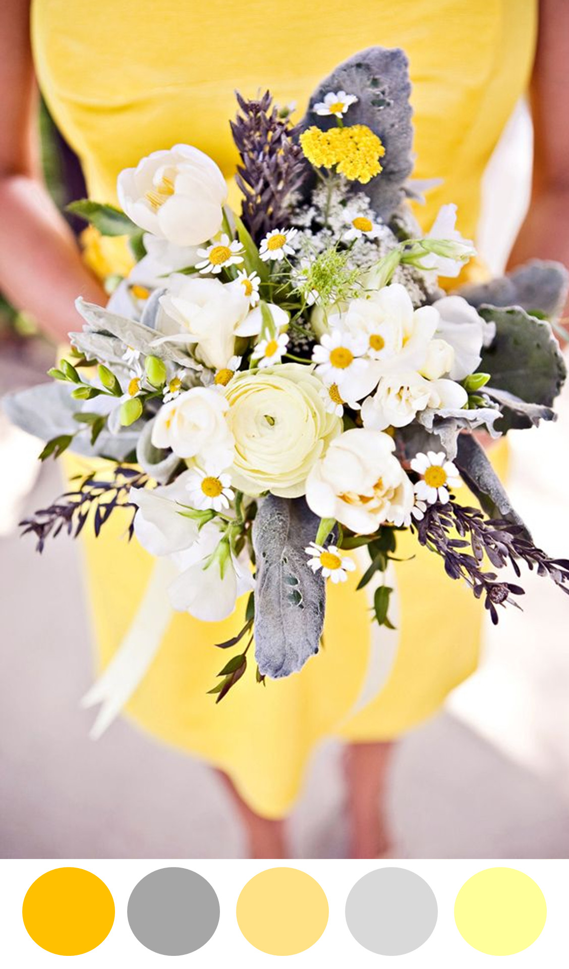 Yellow and Grey Wedding Ideas Yellow and Grey Bouquet