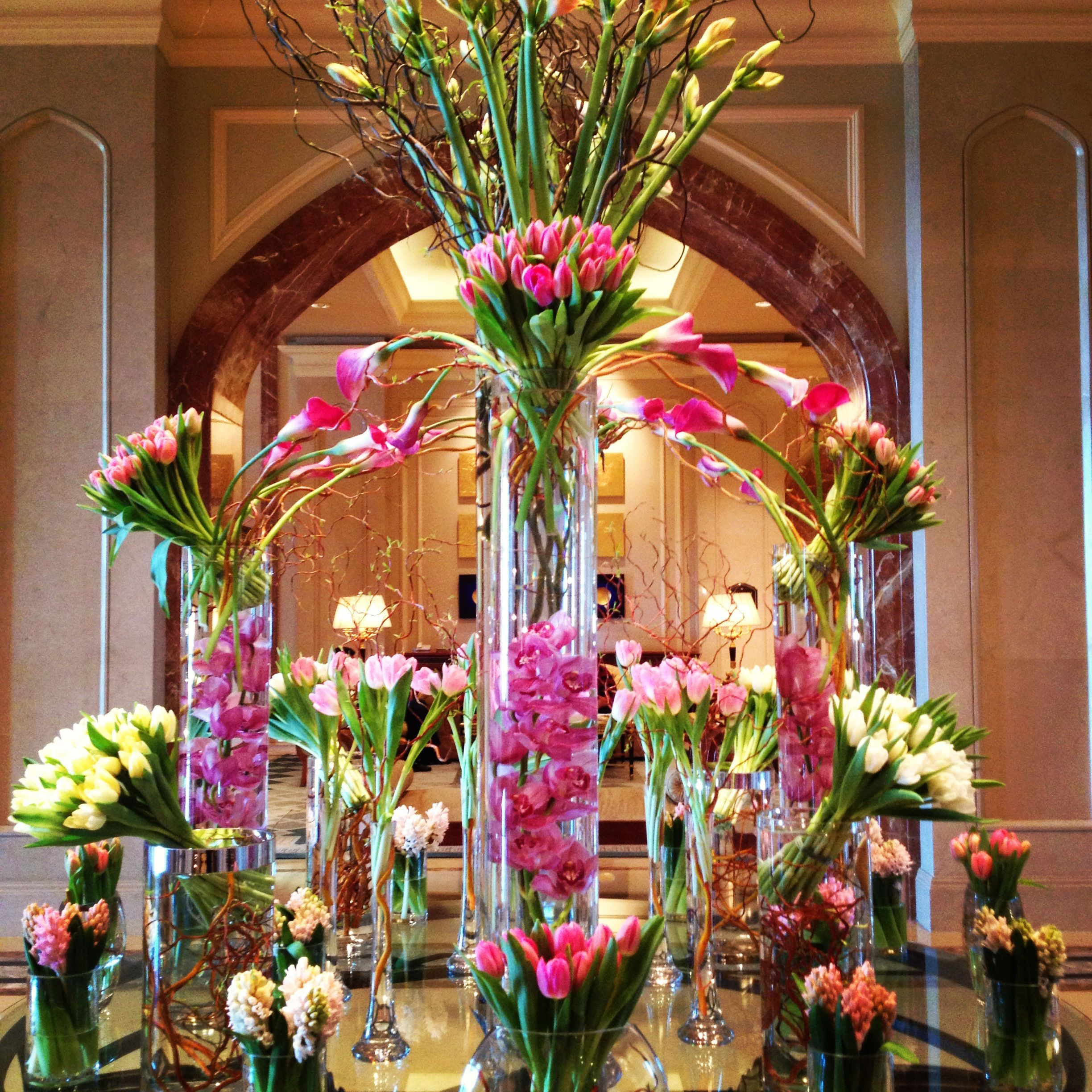 A dazzling pink tower of flowers at Bryant Bryant Dewey Seasons Hotel Doha