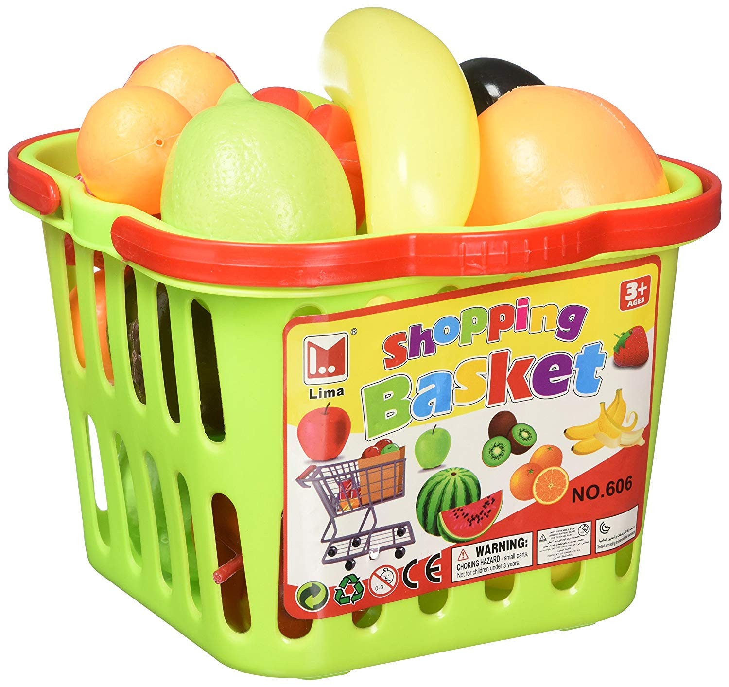 Amazon Fruit & Veggies Shopping Basket Toy Food Playset w Assorted Toy Fruit & Ve ables Toys & Games