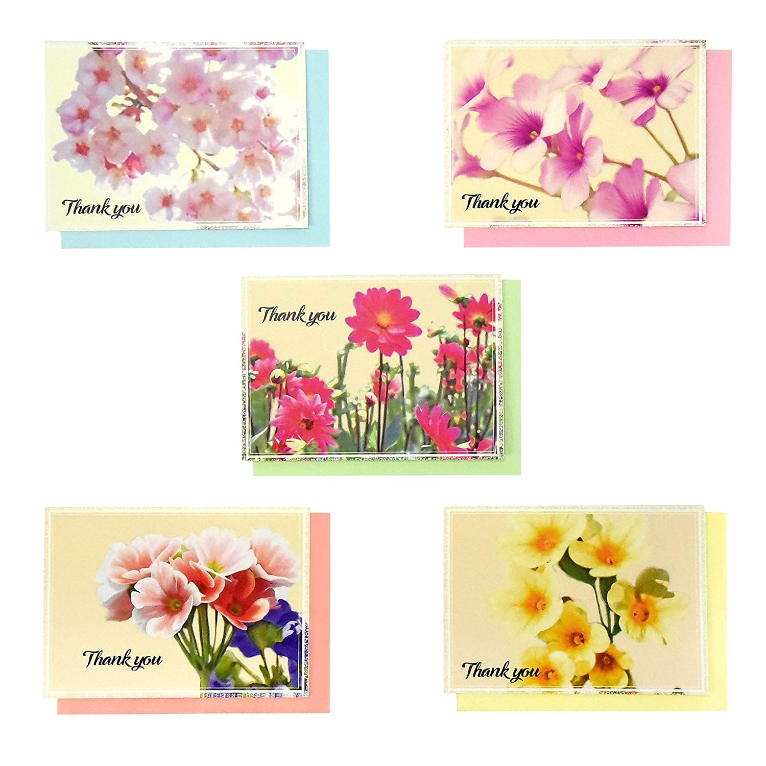 Amazon Thank You Cards Set 50 Cards 50 Colored Envelopes 5 Floral Designs Greeting Cards Blank Foldable Note Cards Watercolor Florals Assorted