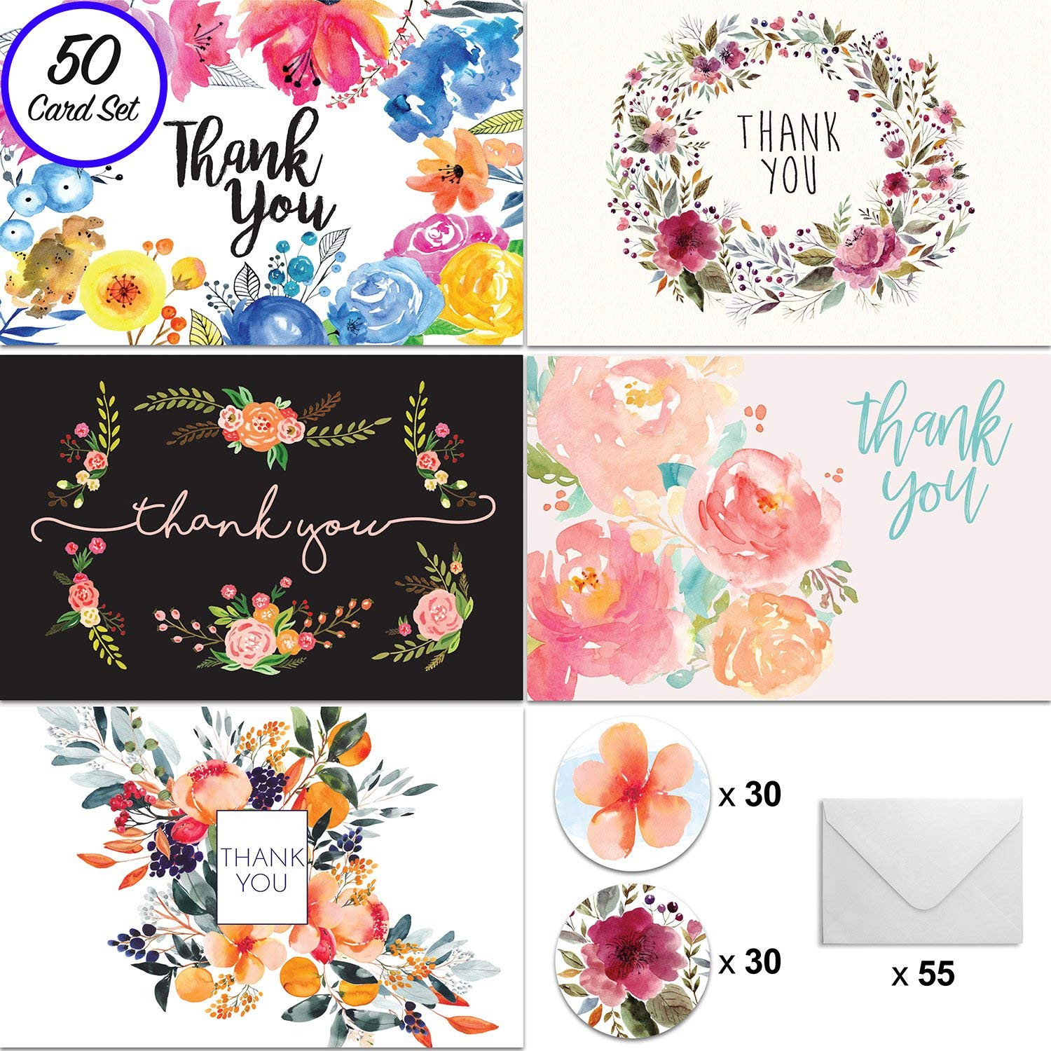 Amazon [50] 4x6 Floral Thank You Cards w Envelopes and Stickers for Weddings Baby and Bridal Showers Parties Engagements Anniversary