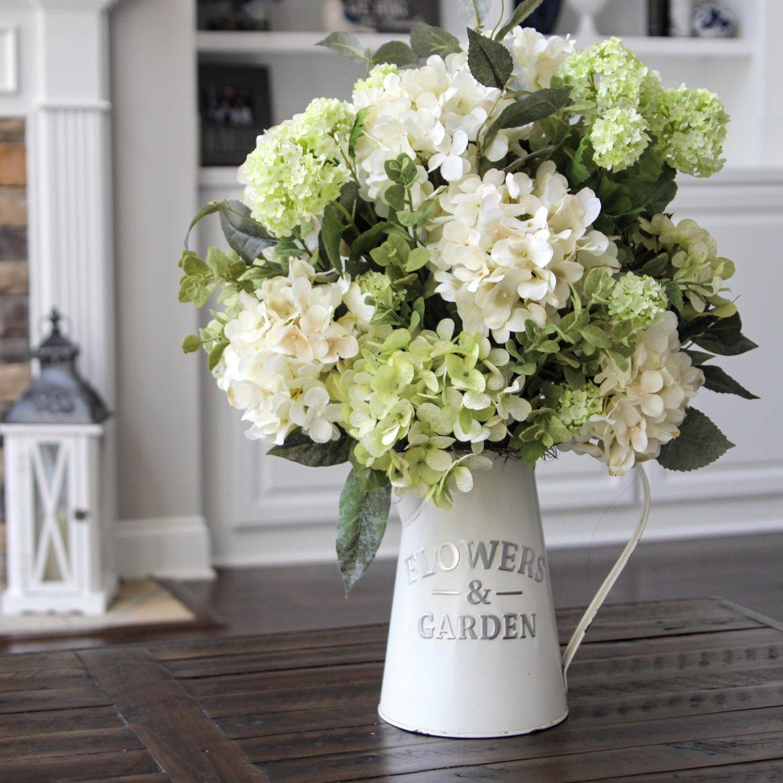 Hydrangeas in a white metal pitcher So pretty