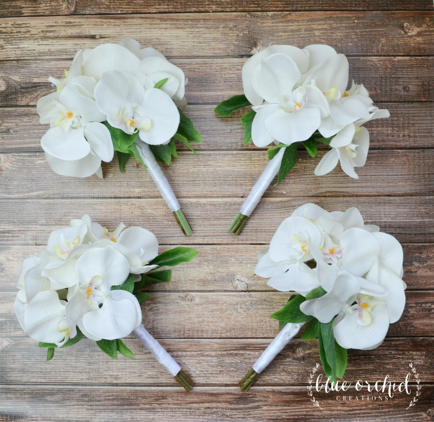 White orchid bridesmaid bouquets Perfect for tropical beach or destination weddings Petite bridesmaid bouquet white bridesmaid bouquet orchid bouquet
