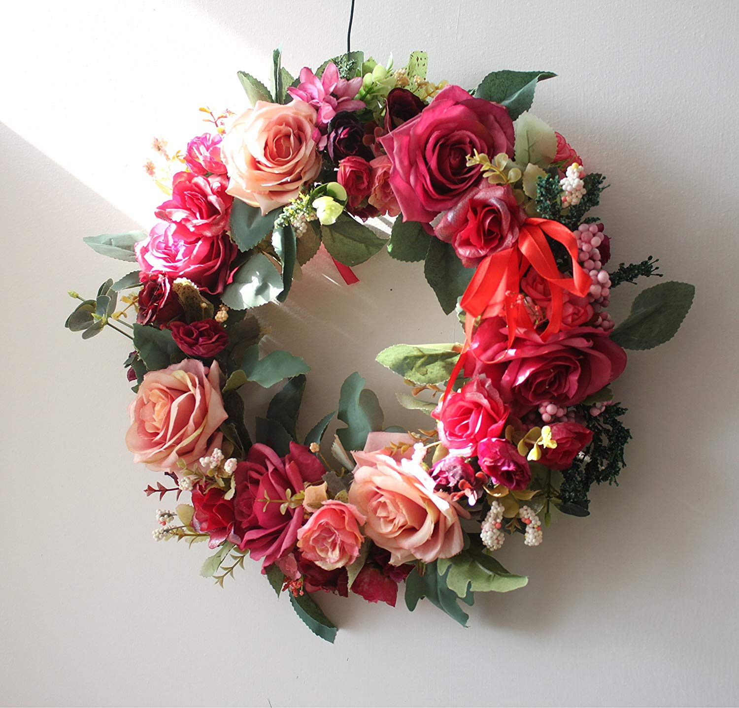 Amazon Artificial Flower Wreath Home Wedding Door Decoration Taffy Home & Kitchen