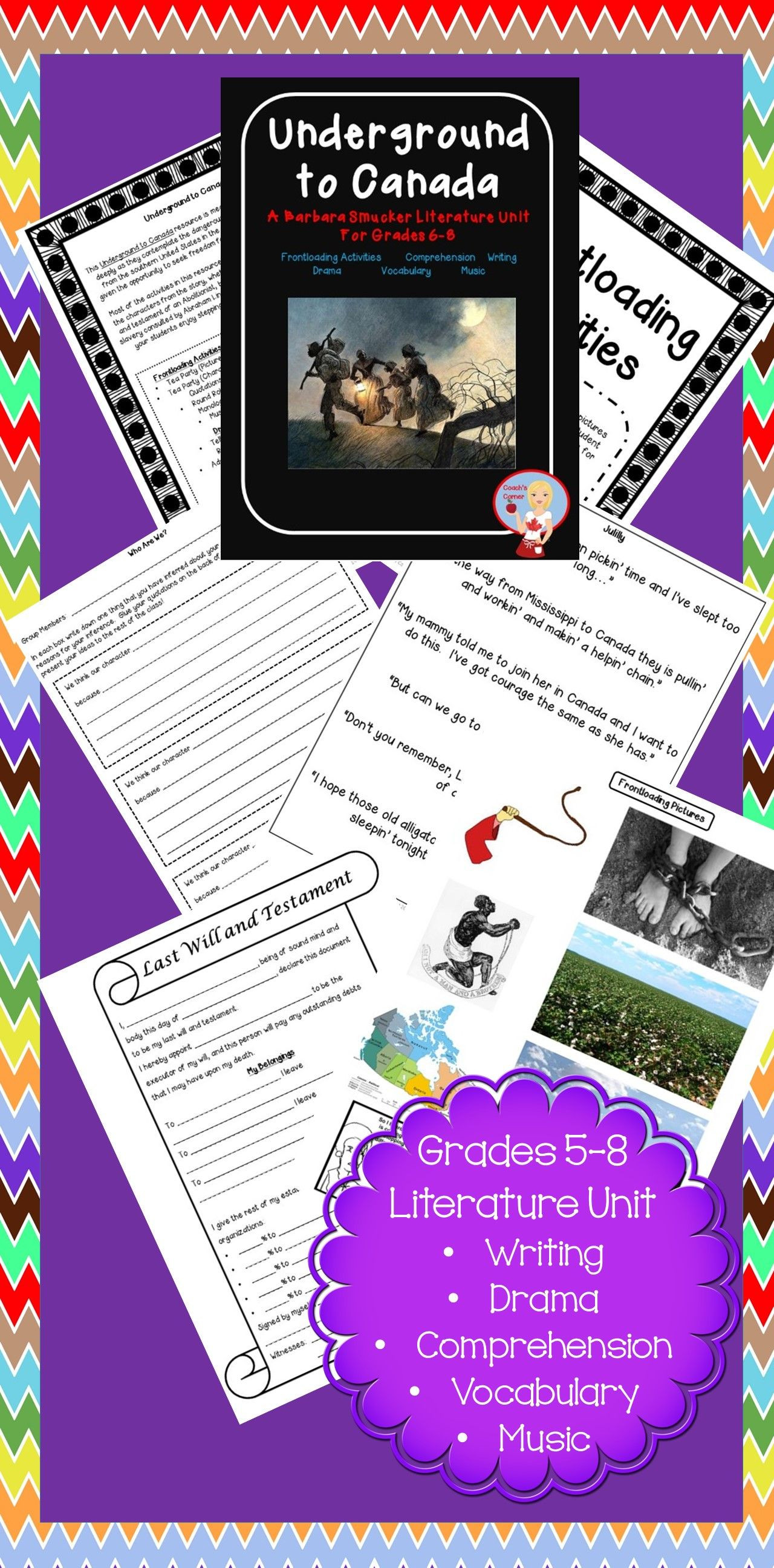57 page Underground to Canada unit based on the book by Barbara Smucker Includes frontloading writing prehension drama music vocabulary activities