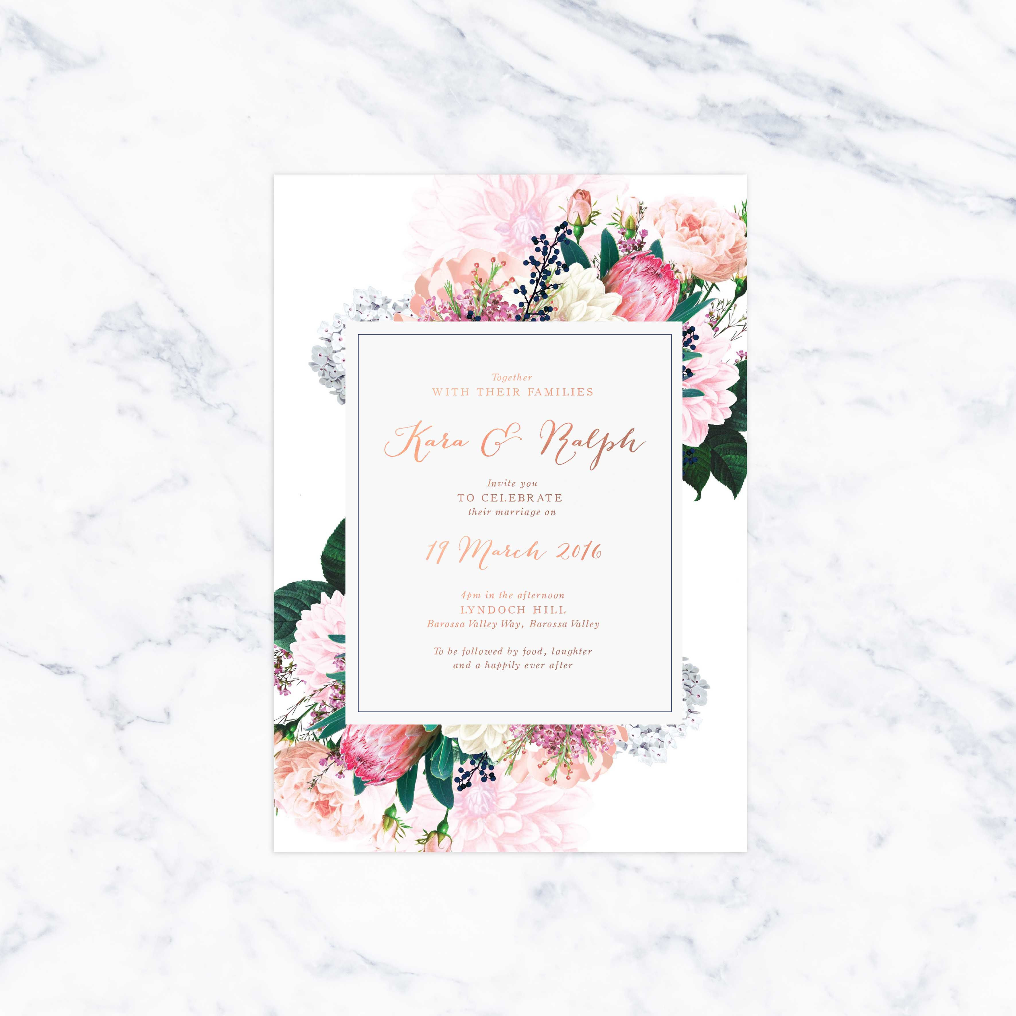 Native Floral Pretty Protea Foil Wedding Invitations Rose Gold Foil Metallic Printing Florals Botanical Bouquet Custom Wedding Stationery Australia Creams