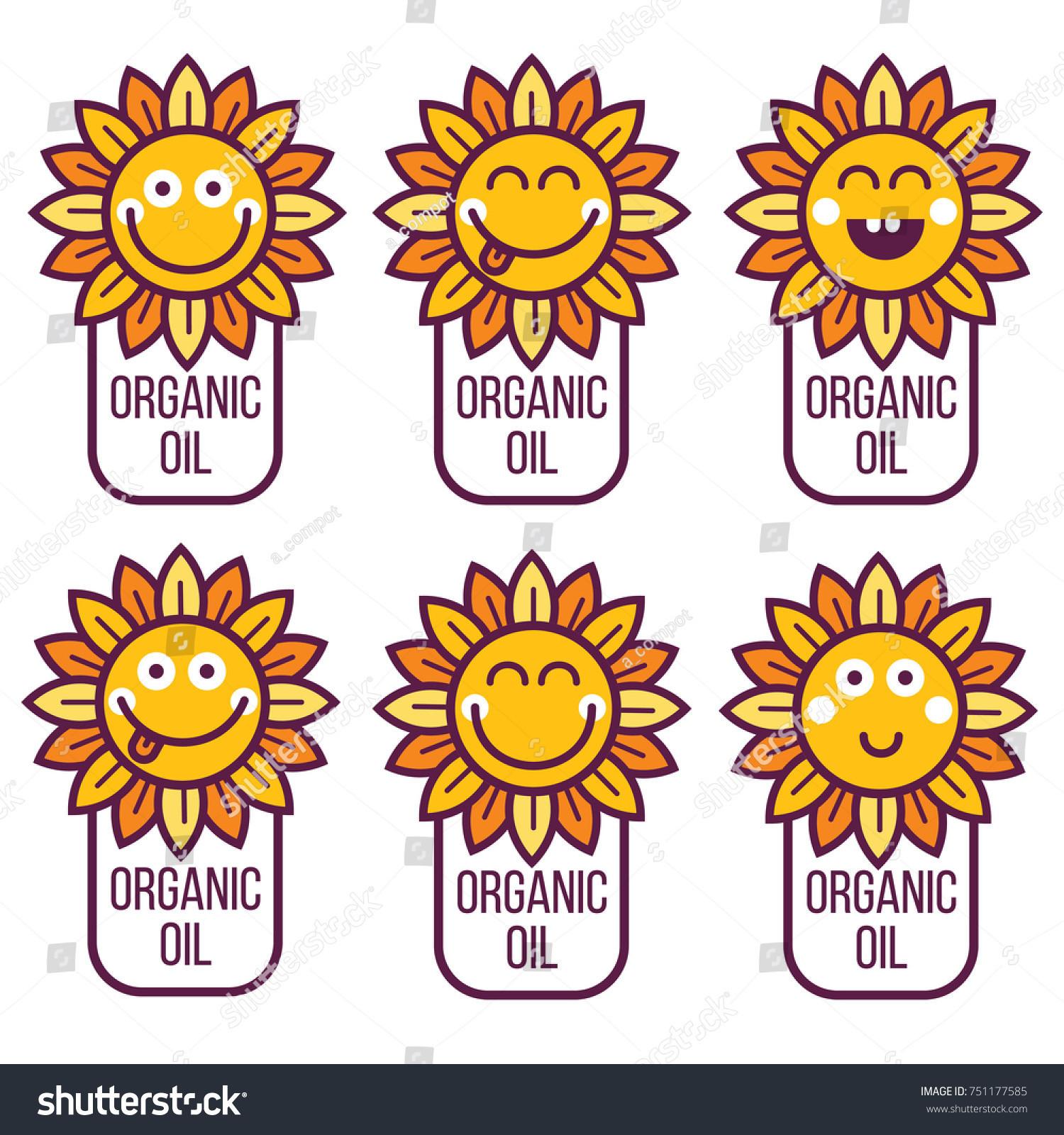 Sunflower emoticon set Card sticker label icon avatar logo element