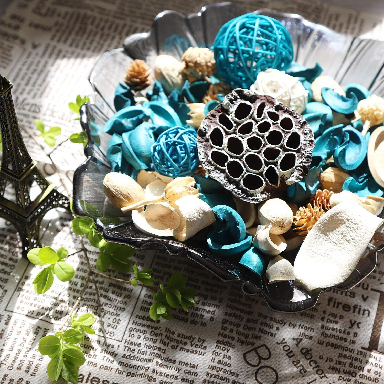Amazon Qingbei Rina Turquoise Ocean Scent Summer Potpourri Dried Flowers Perfume Sachet Decorative Bag and Gift Rattan Balls Lotus Pods