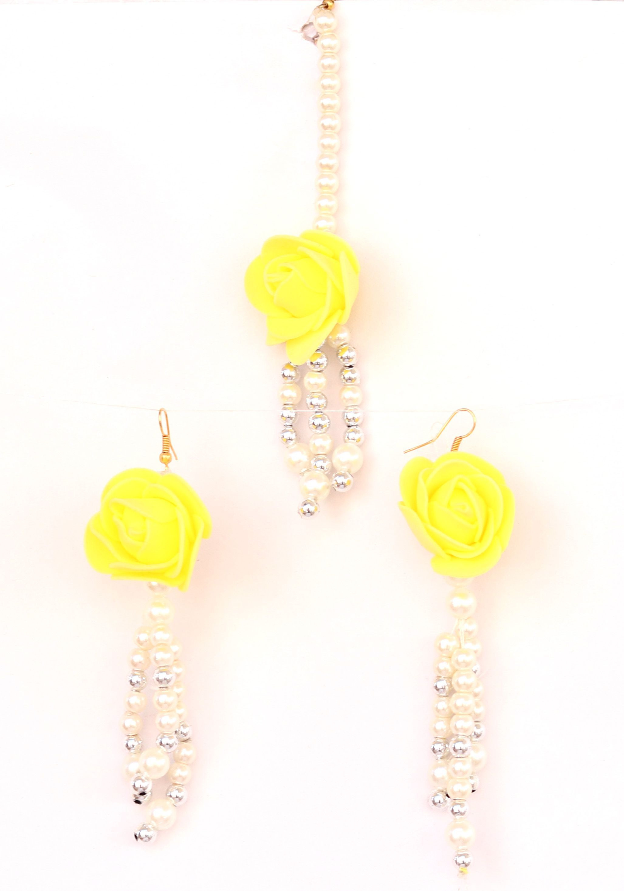 Floret Jewellery Pearl Yellow Flower Earrings & Maang Tika For Women & Girls