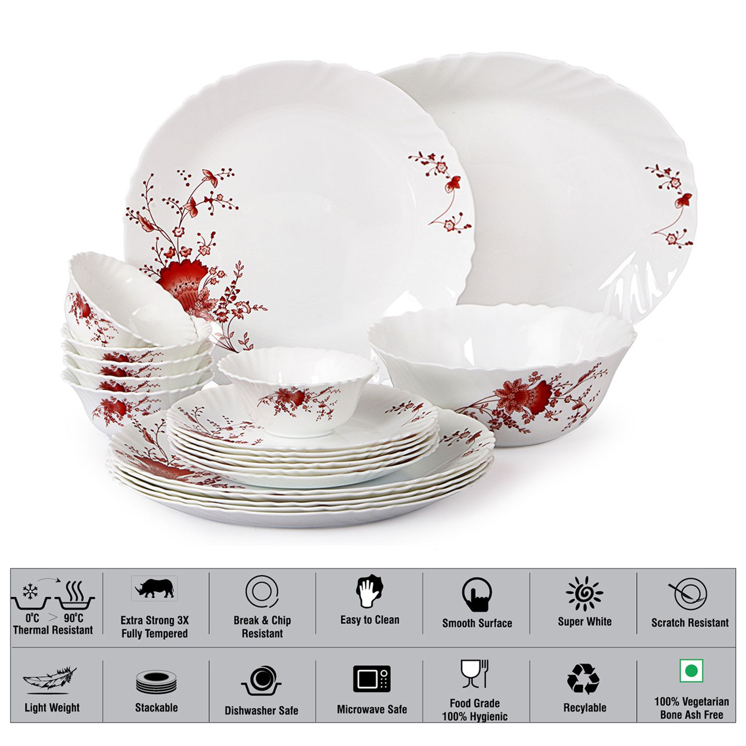 Cello Ocean Flower Opalware Dinner Set of 20 Pieces