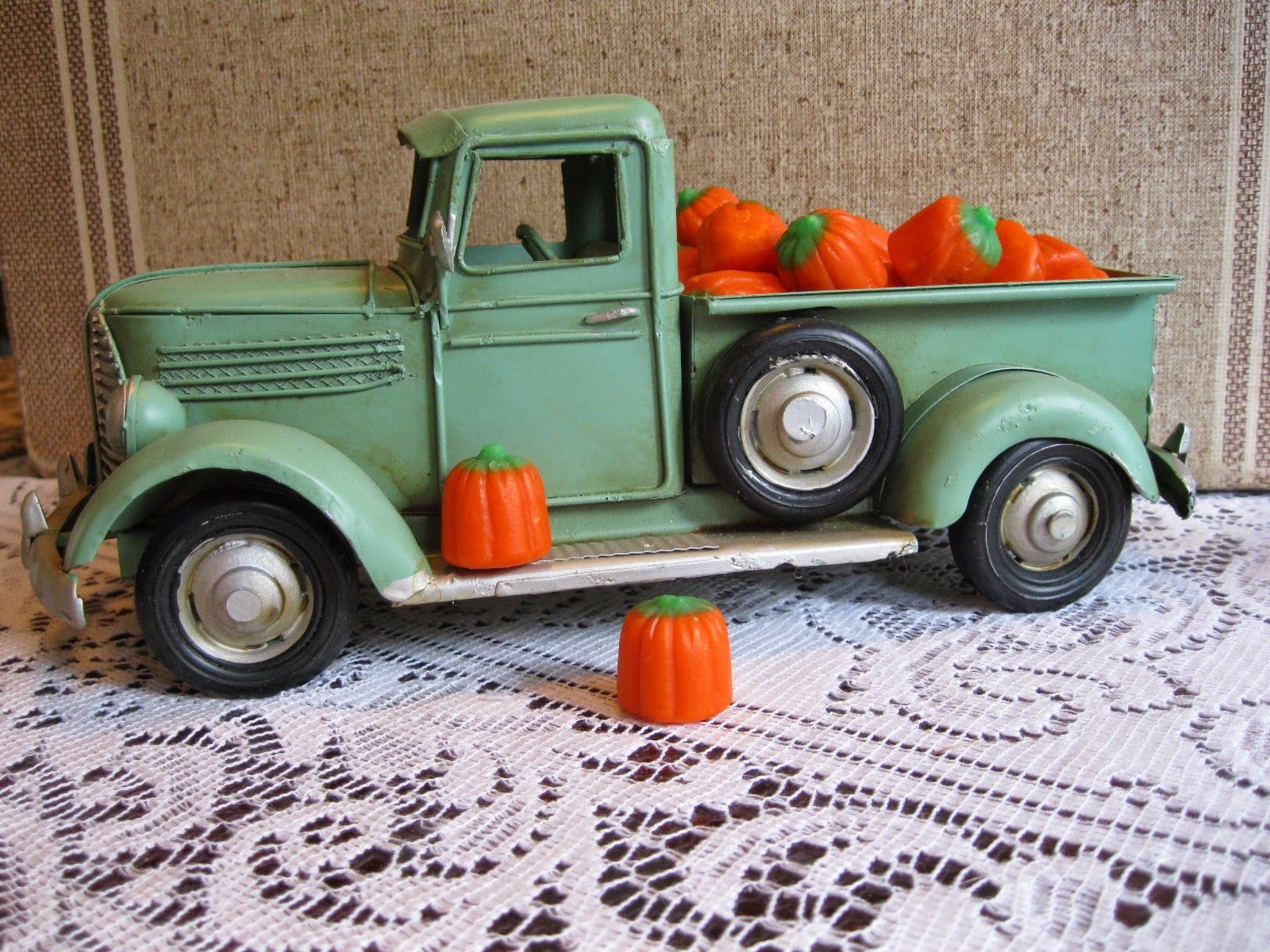 Candy pumpkins in toy truck
