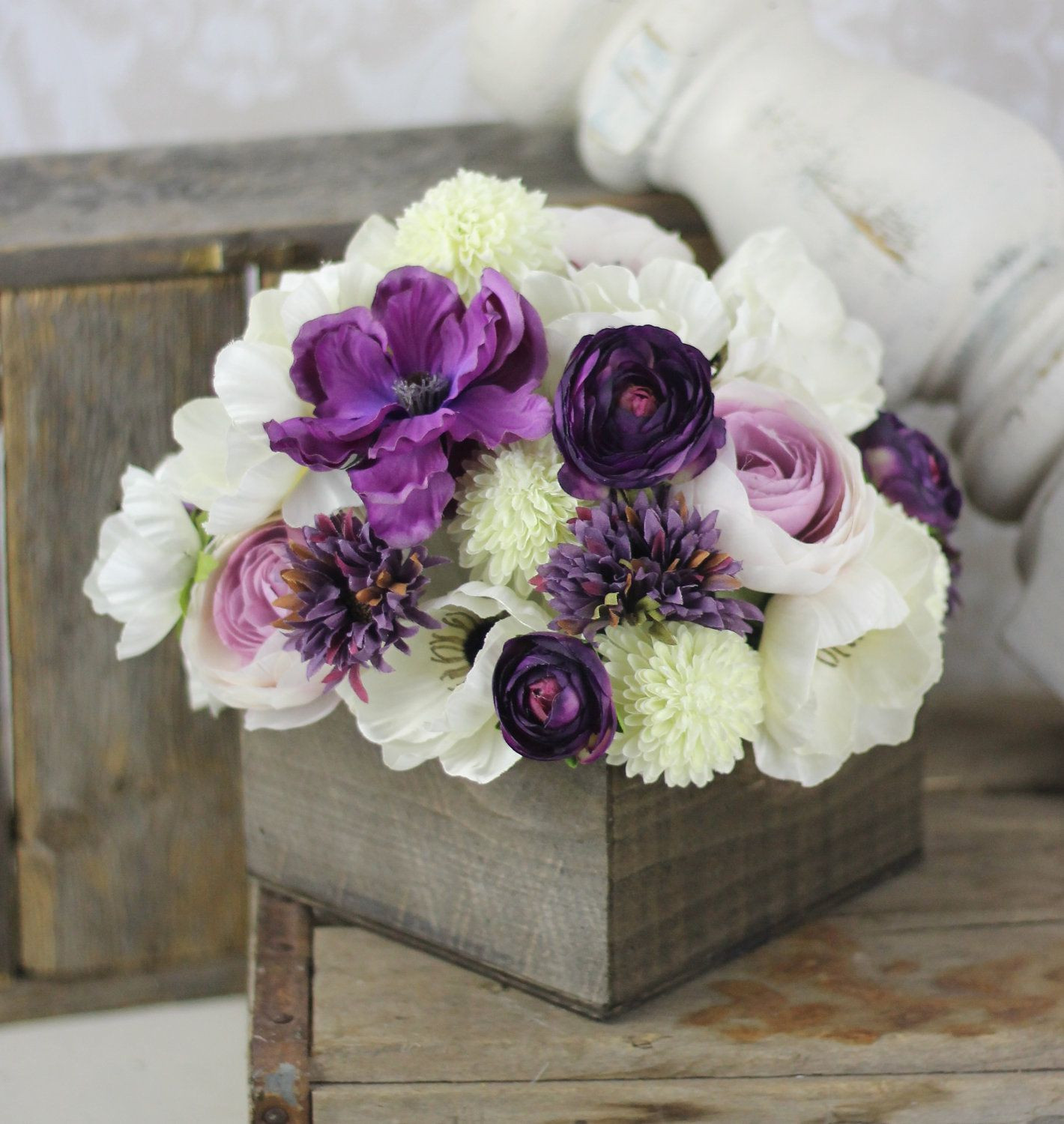 Wedding Centerpiece Arrangement Silk Flowers Rustic Chic Wedding Decor $125 00 via Etsy
