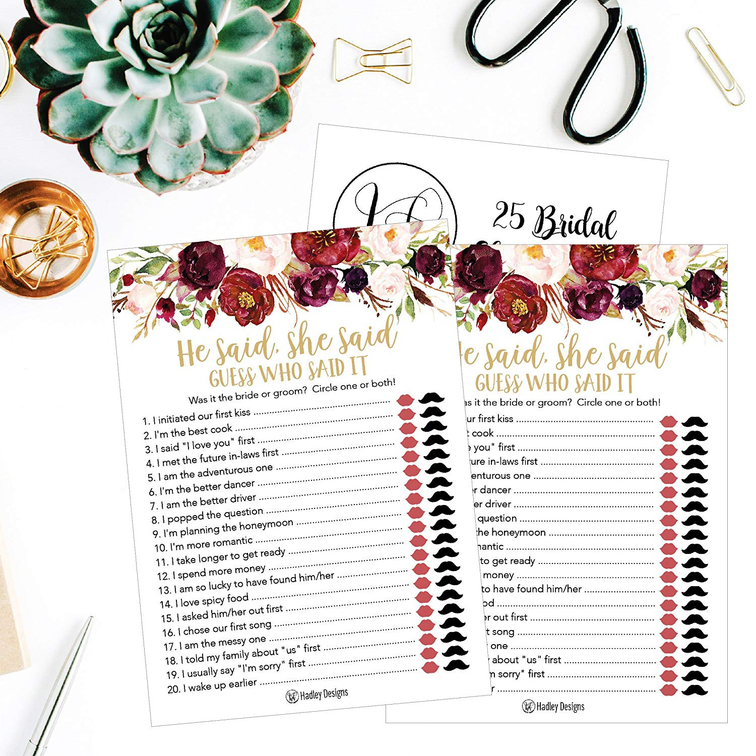 Amazon 25 Floral Wedding Bridal Shower Engagement Bachelorette Anniversary Party Game Ideas Gold He Said She Said Cards For Couples