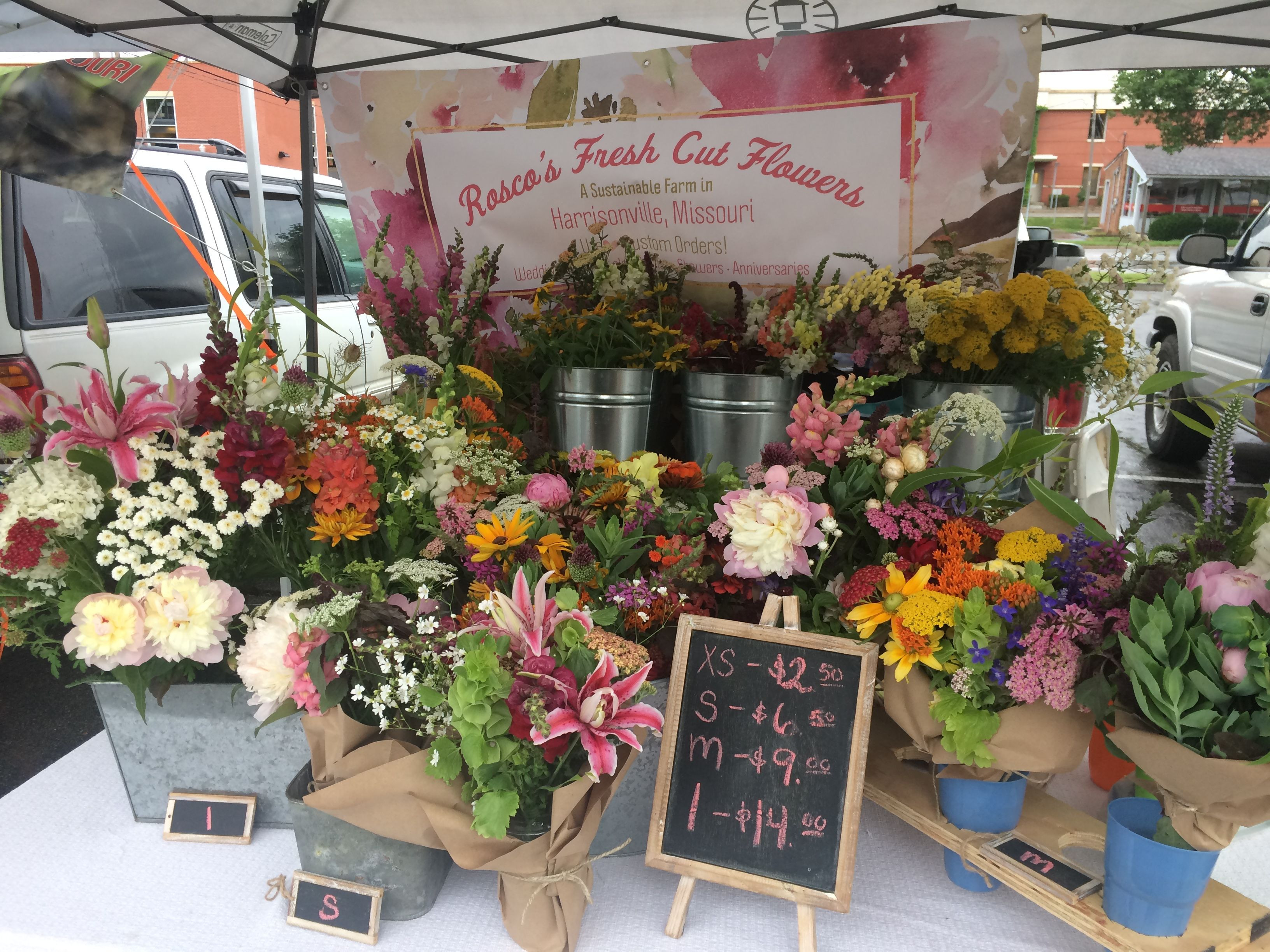 Downtown Lee s Summit Farmers Market Booth Vendor Flowers Fresh cut Missouri Grown