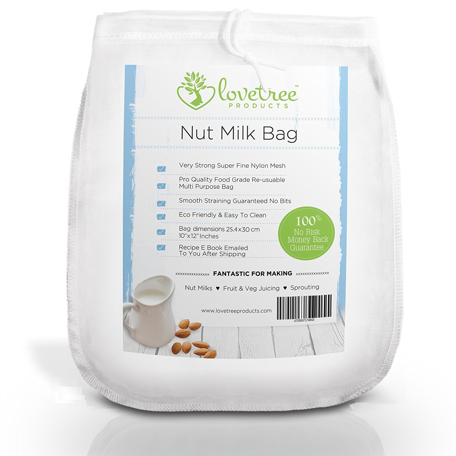 Lovetree Products Nut Milk Bag Professional Filter for Almond Coconut Greek Yogurt Soy Milk Fruit & Veg Cheesecloth Replacement Reusable Strainer