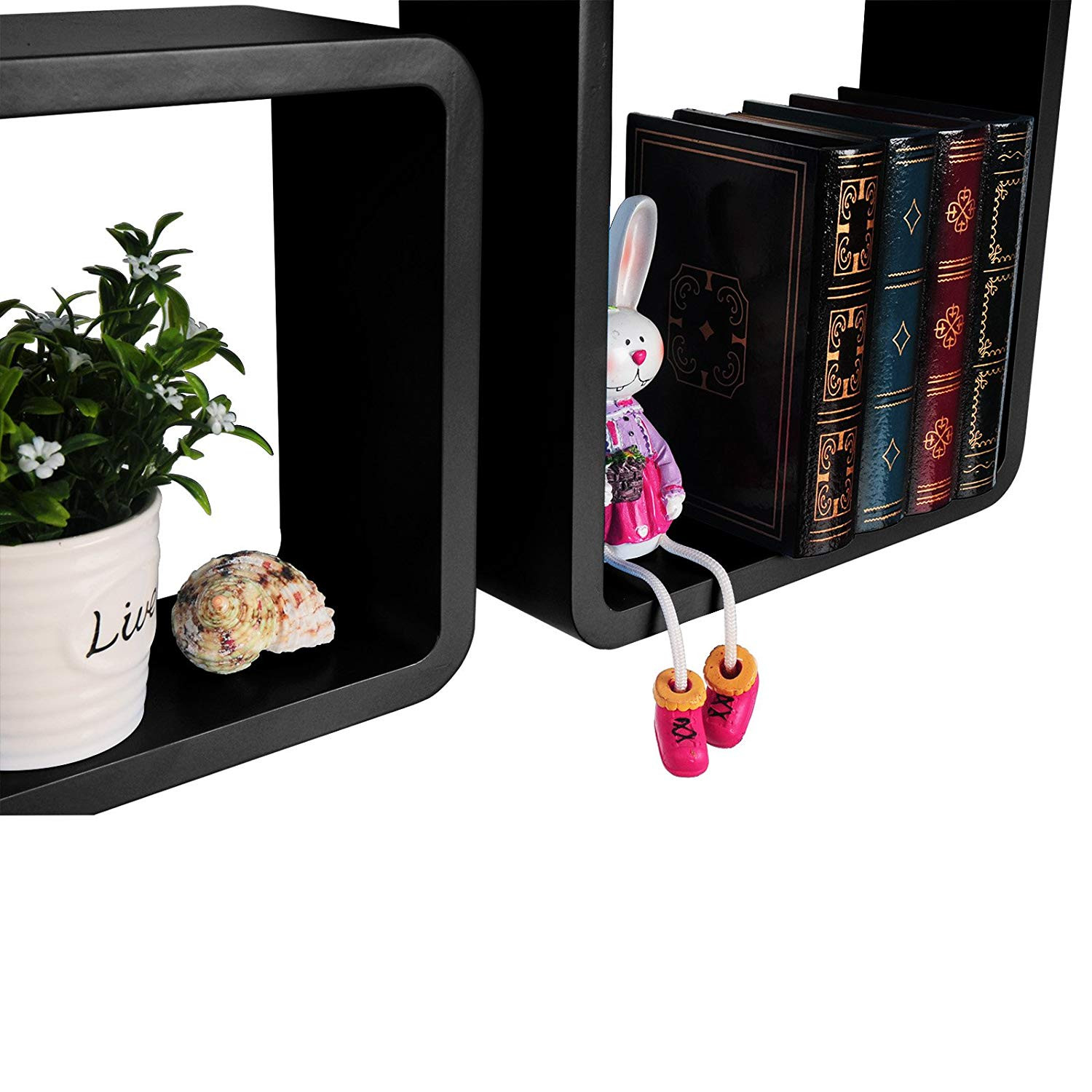 Amazon WOLTU 3 Piece Floating Shelf Set Decorative Rounded Cube Shelves CD Racks Black WS12blk a Home & Kitchen
