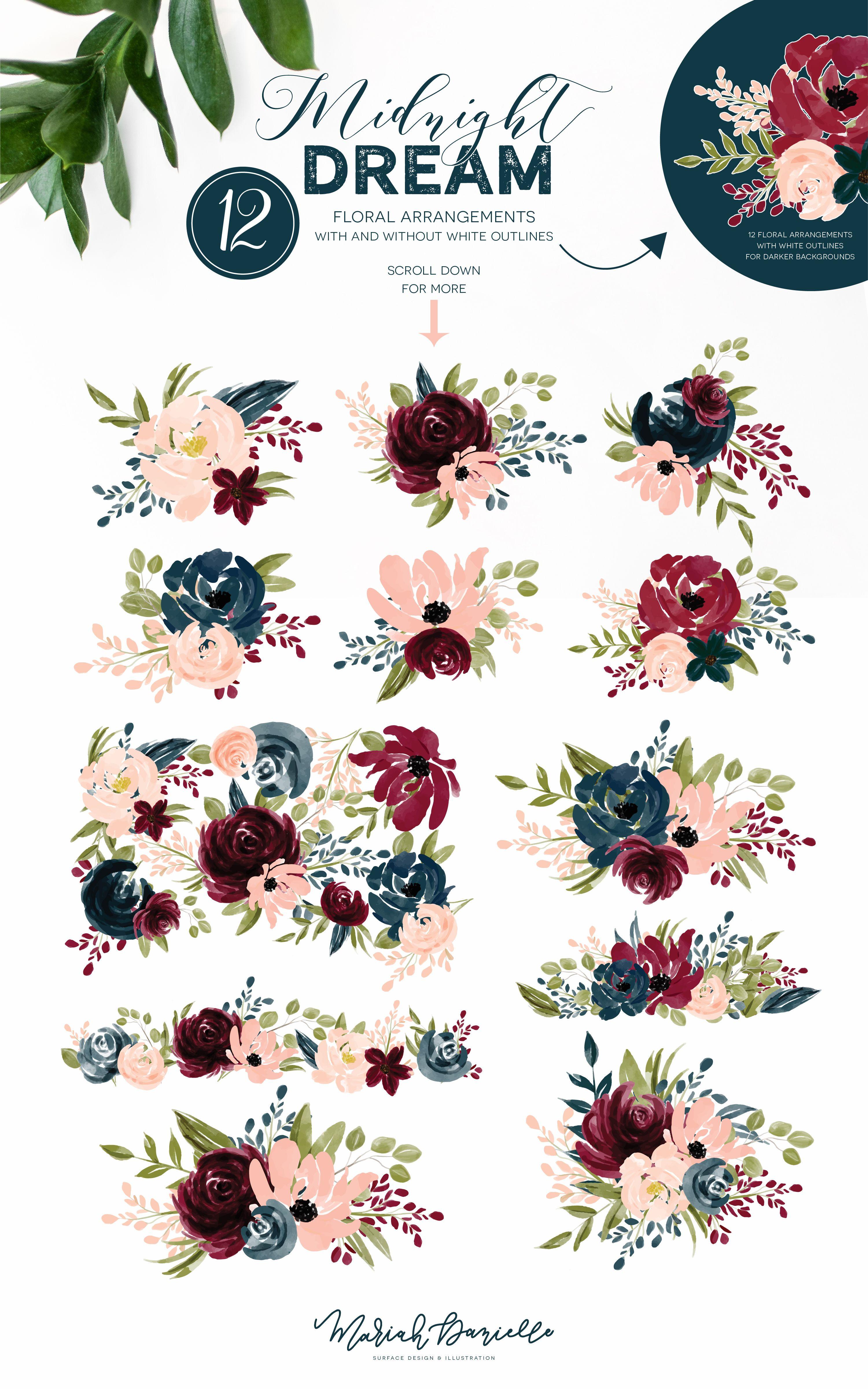 Burgundy & Navy Flower Graphic Set Illustrations Hand Drawn Floral Illustrations