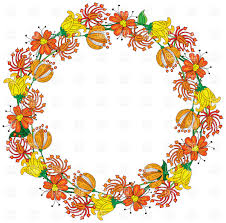 Orange floral wreath Vector Image